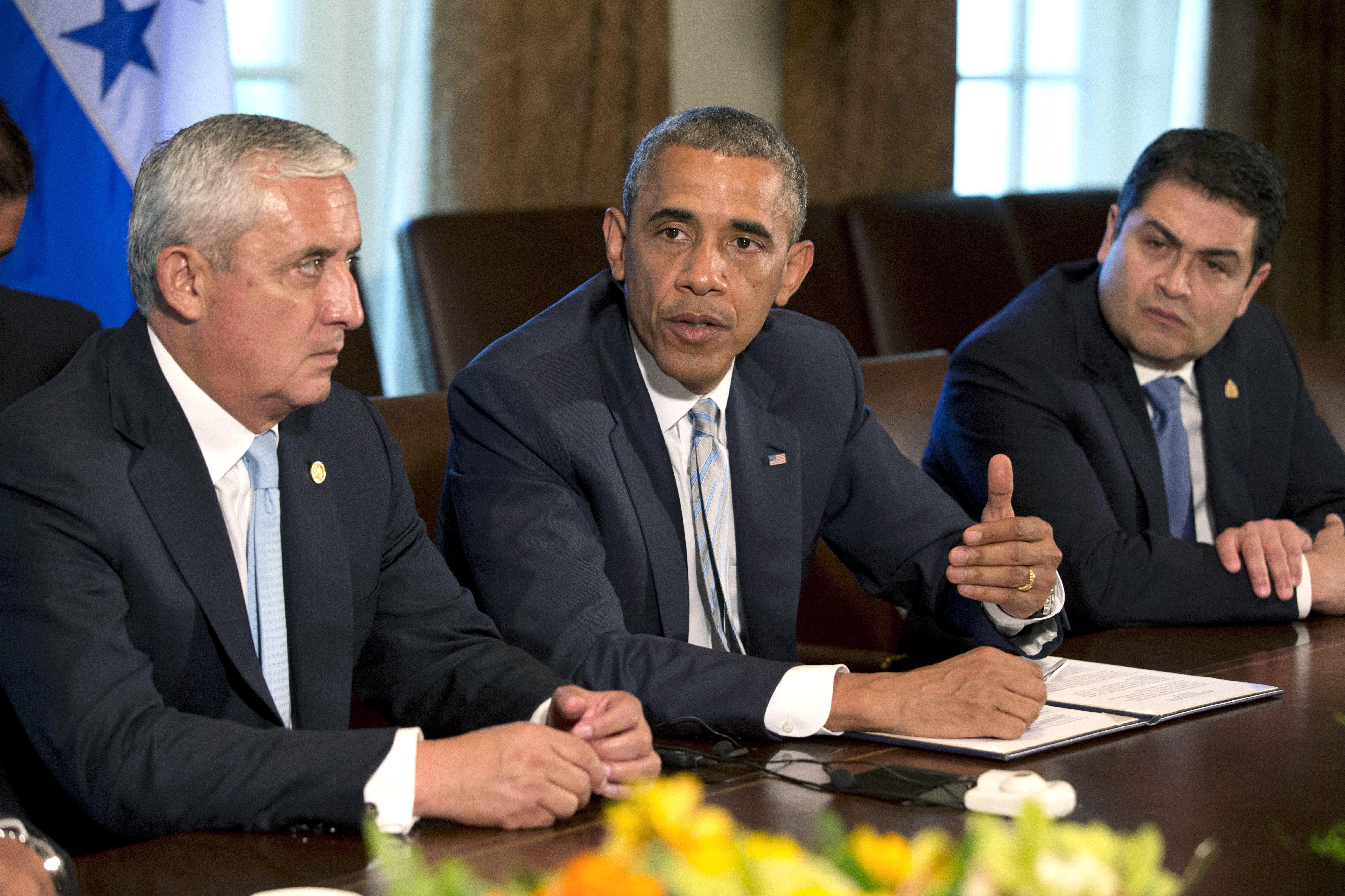 Image: Otto Perez Molina, Barack Obama, Juan Hernandez