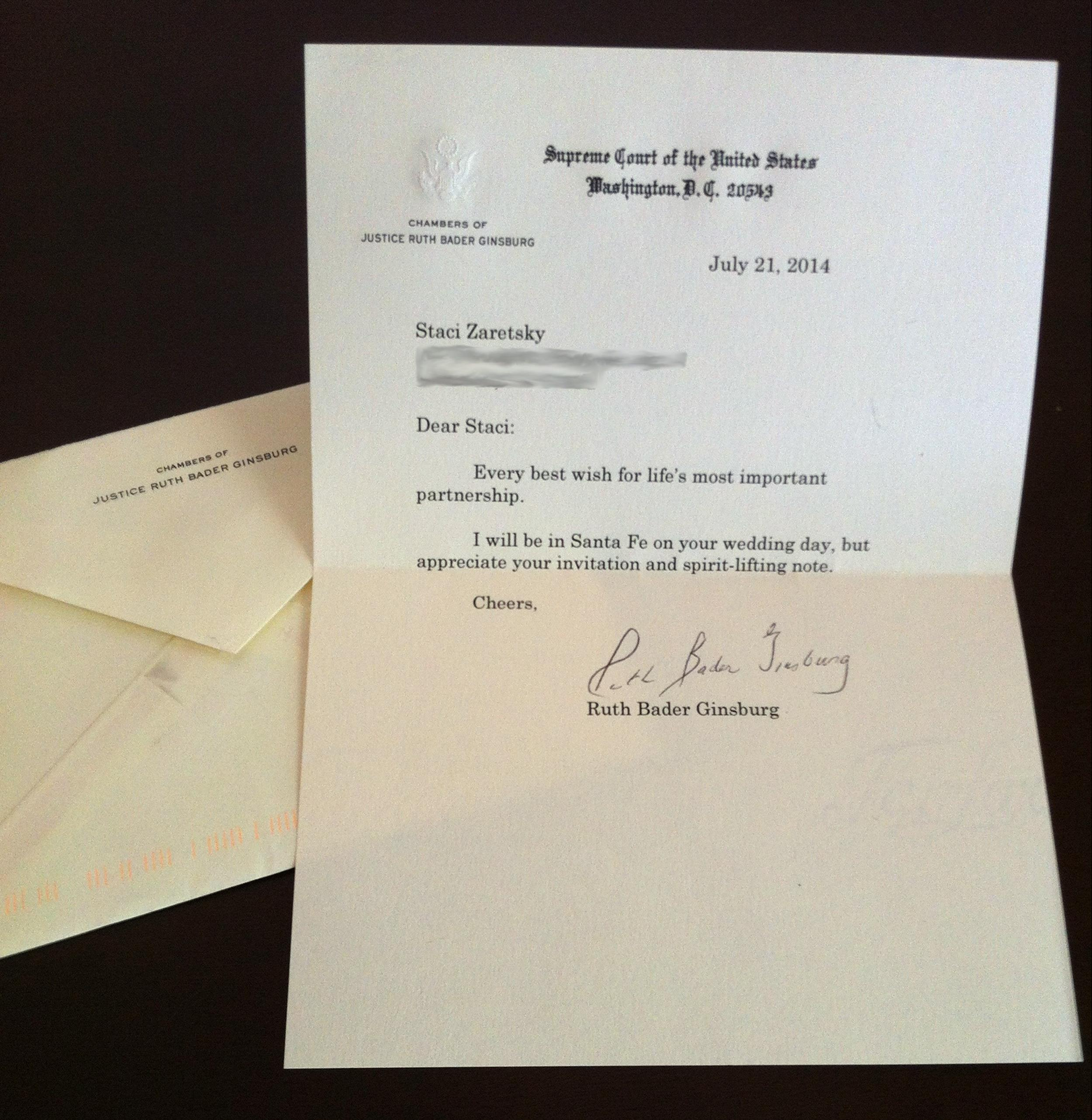 Image: Supreme Court Justice Ruth Bader Ginsburg's letter to bride-to-be Staci Zaretsky