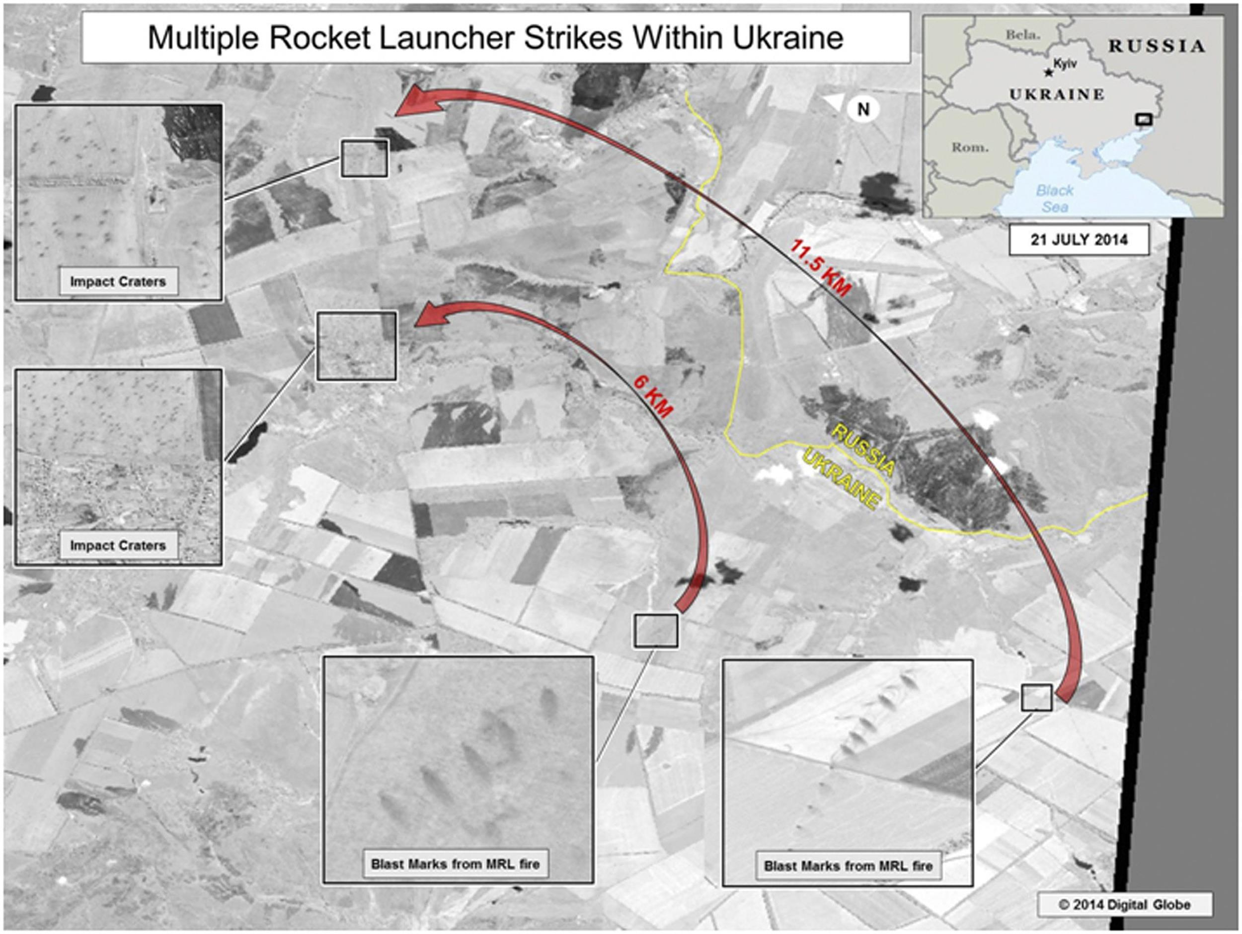 Image: Satellite images of the Ukraine-Russia border area taken by DigitalGlobe appear in a graphic, produced by the Department of National Intelligence in Washington