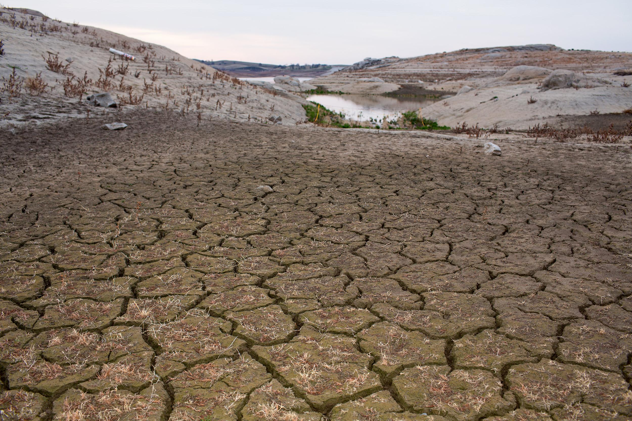 Image: Dried mud sits at the Hensley Lake reservoir near Madera, Calif. on Feb 15