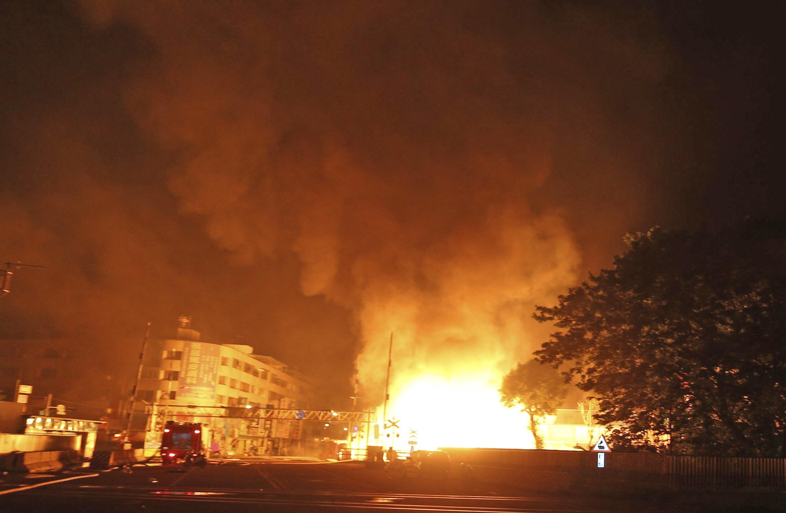 Image: Flames after explosion in Kaohsiung, Taiwan, on Friday