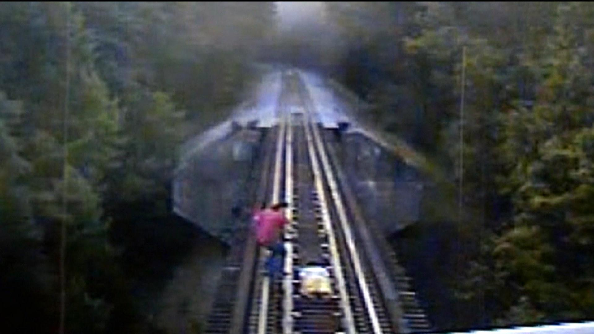 Image: Two women trespassing on railroad tracks in Indiana narrowly escaped death