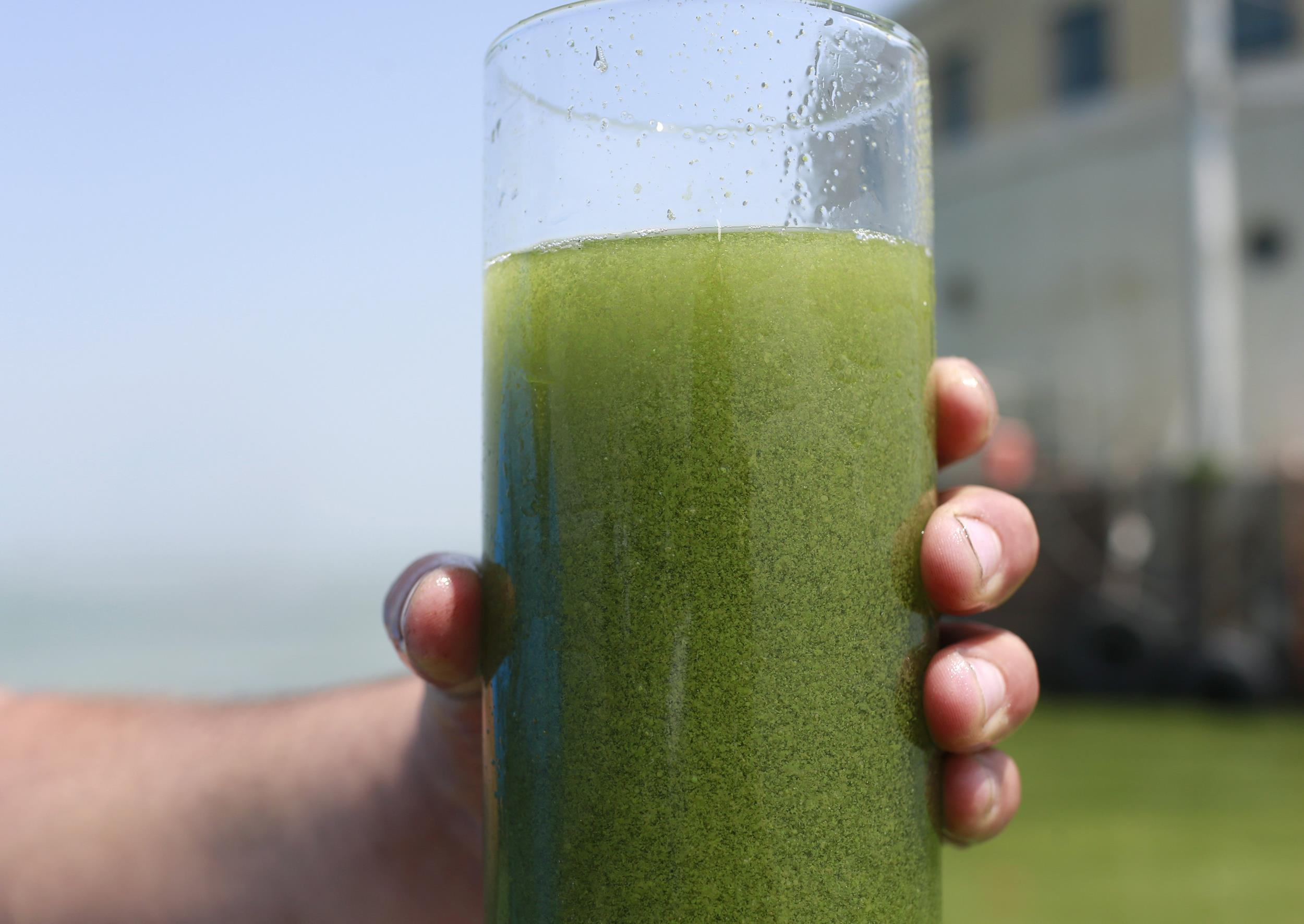 Image: A sample glass of Lake Erie water is photographed near the City of Toledo water intake crib