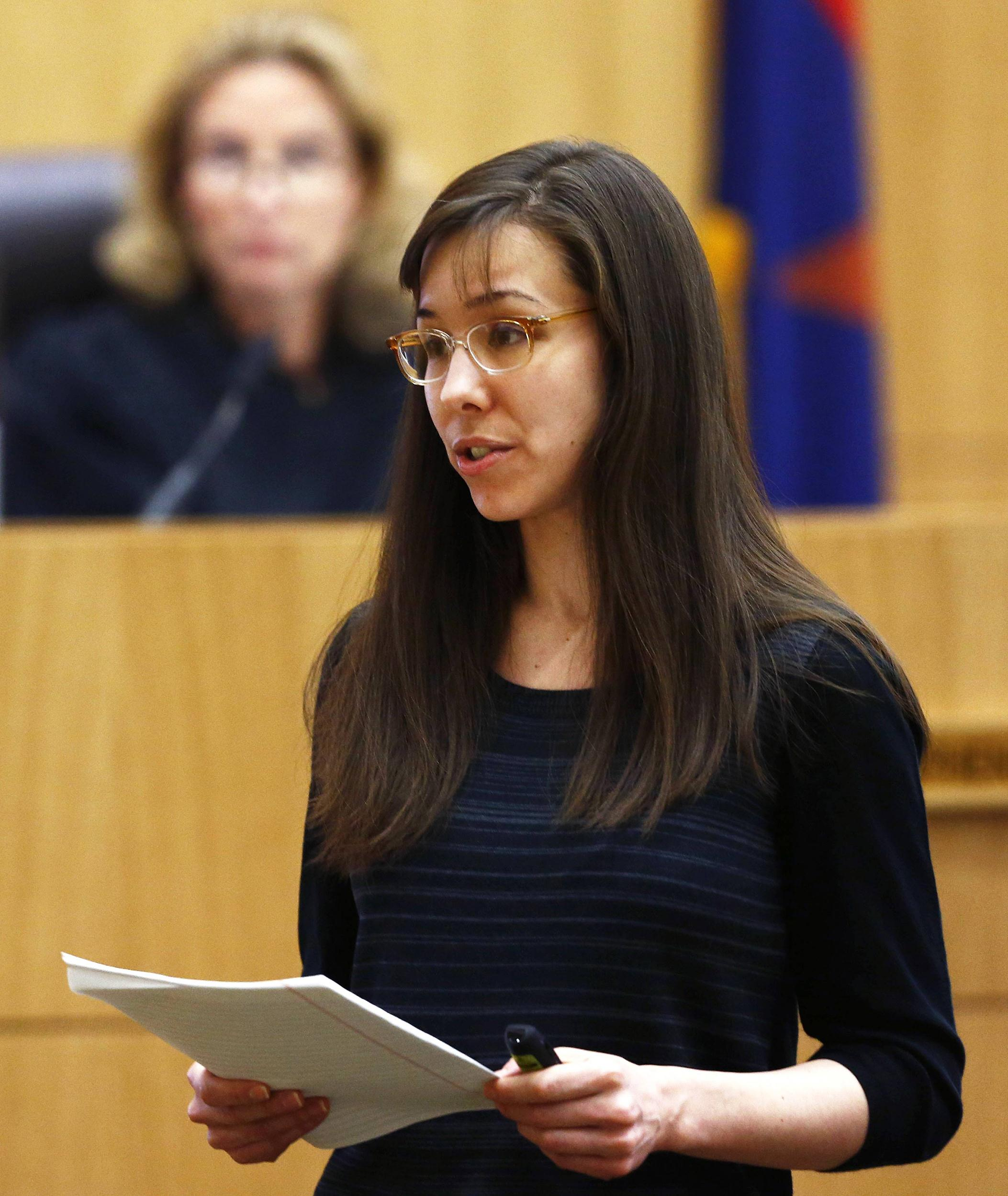 Image: Jodi Arias addresses the jury during the penalty phase of her murder trial in Phoenix