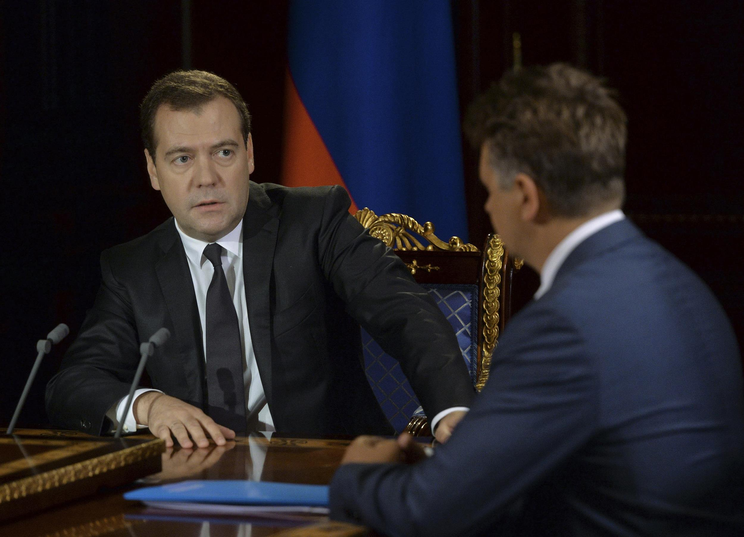 Image: Russia's PM Medvedev meets with Transport Minister Sokolov at the Gorki state residence