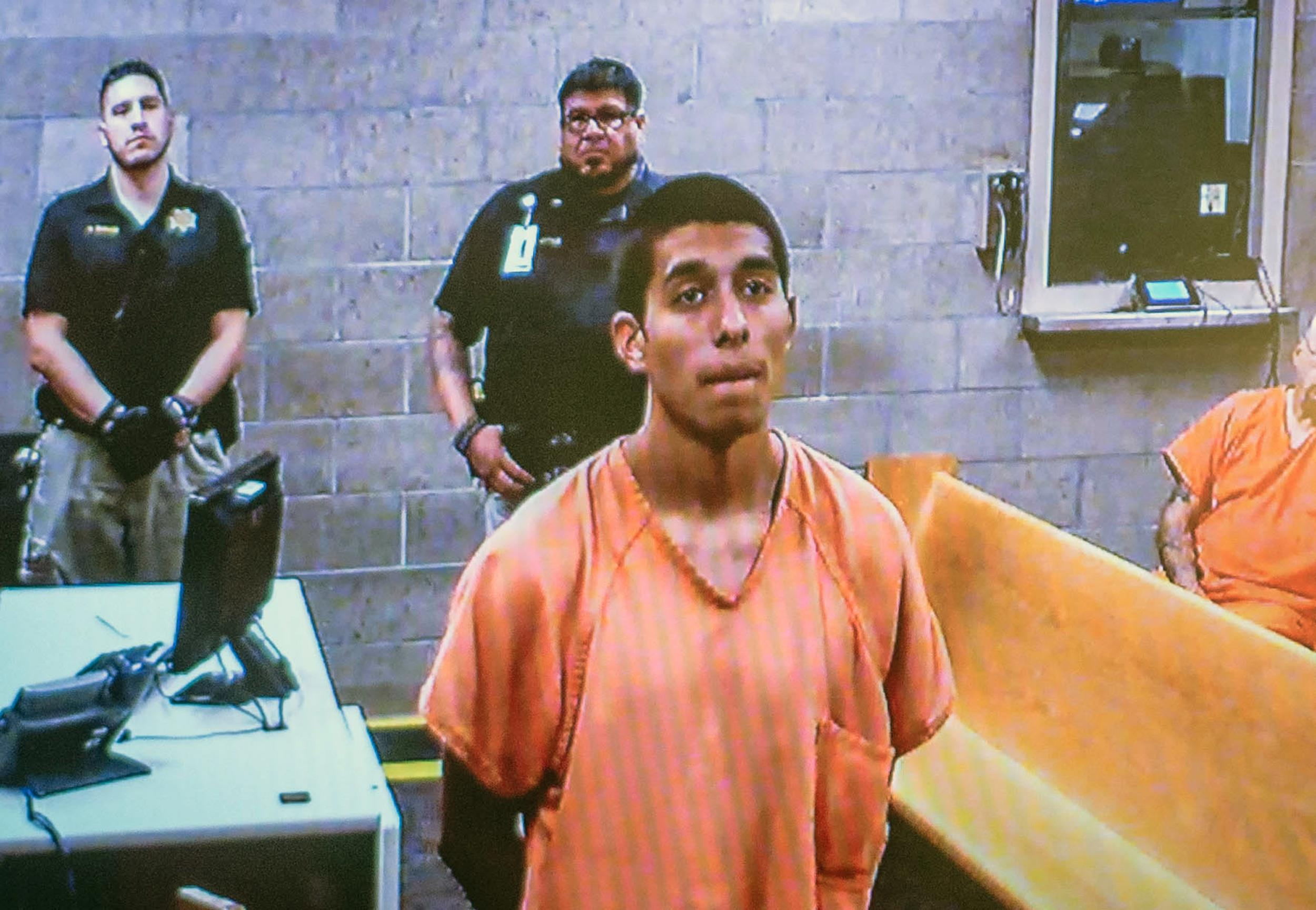 Image: Alex Rios,18, makes an appearance on video for an arraignment in metro court July 21