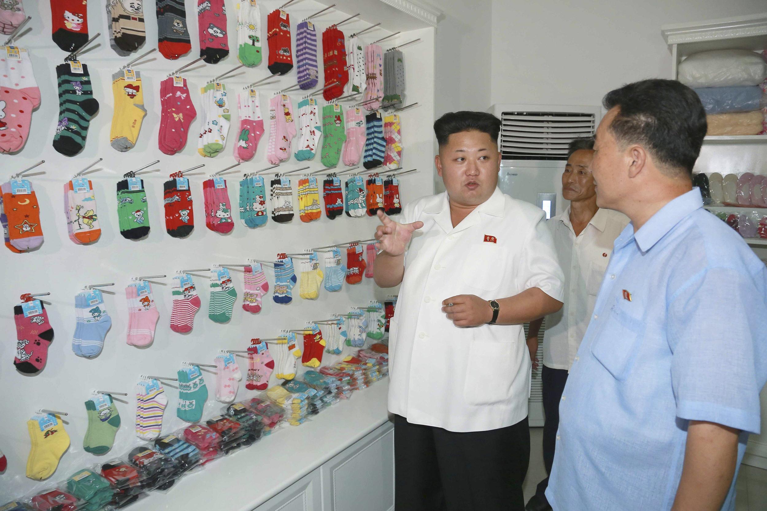 Image: North Korean leader Kim Jong Un visits the Pyongyang Hosiery Factory