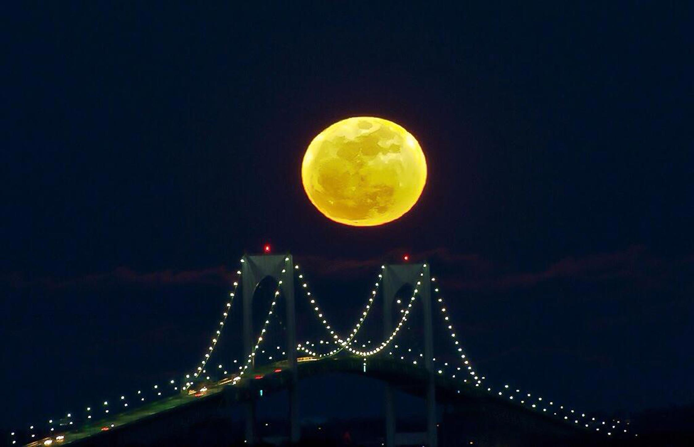 Supermoon seen on Aug. 10 in Newport, R.I.