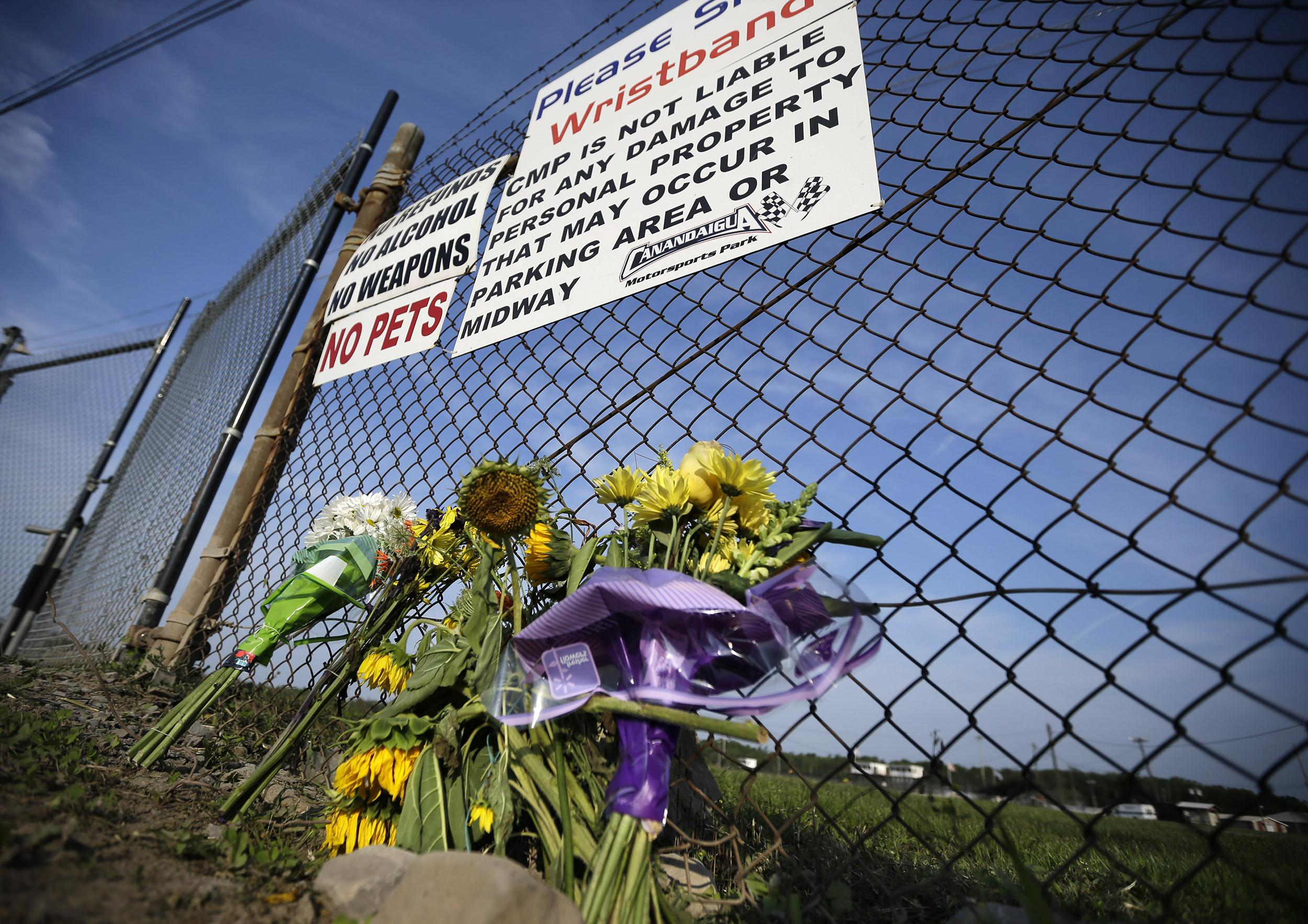 Image: A small memorial of flowers is seen at Canandaigua Motorsports Park on Aug. 11, in Canandaigua, N.Y.