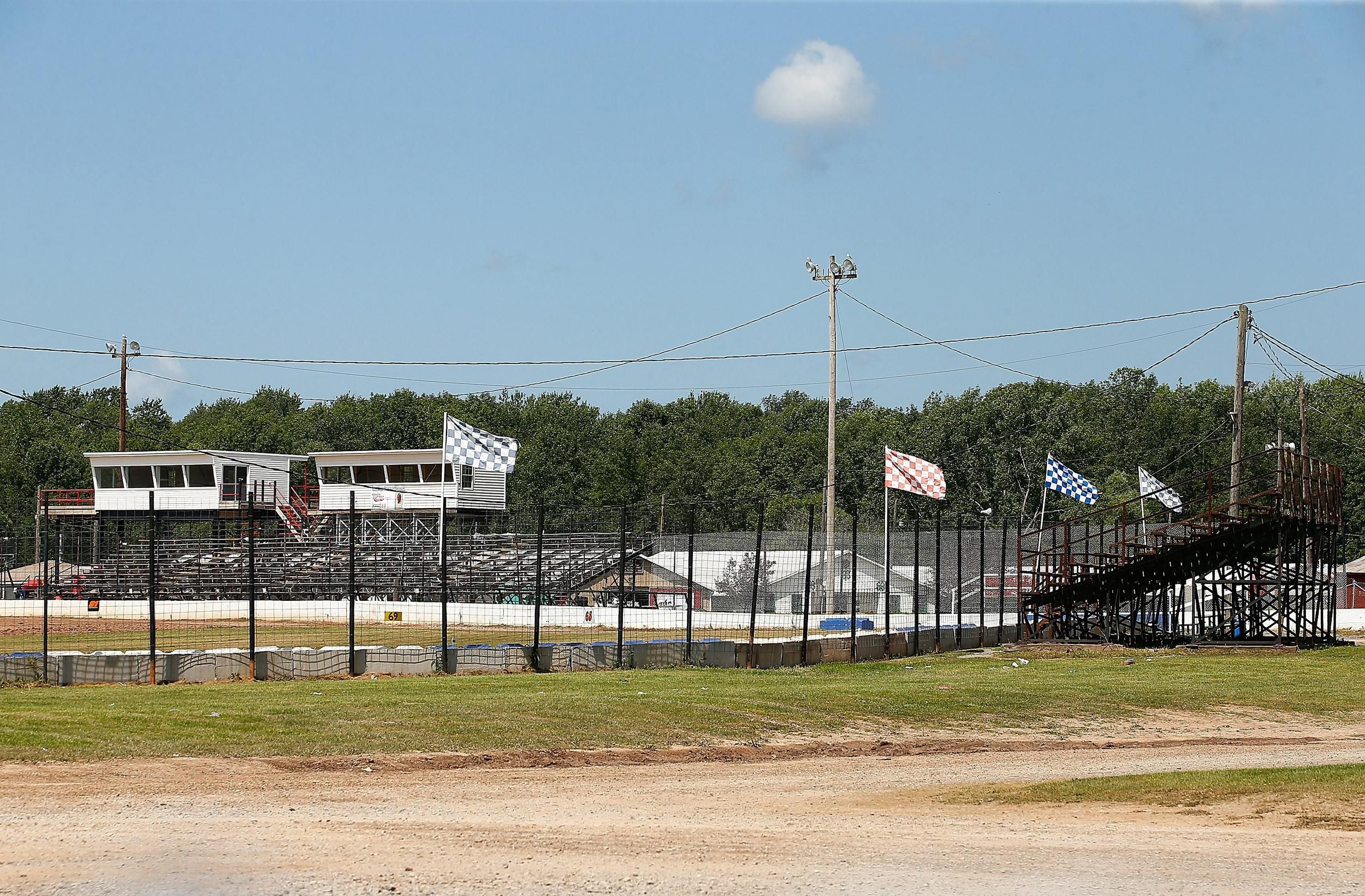 Image: The grandstands sit empty at the Canandaigua Motorsports Park