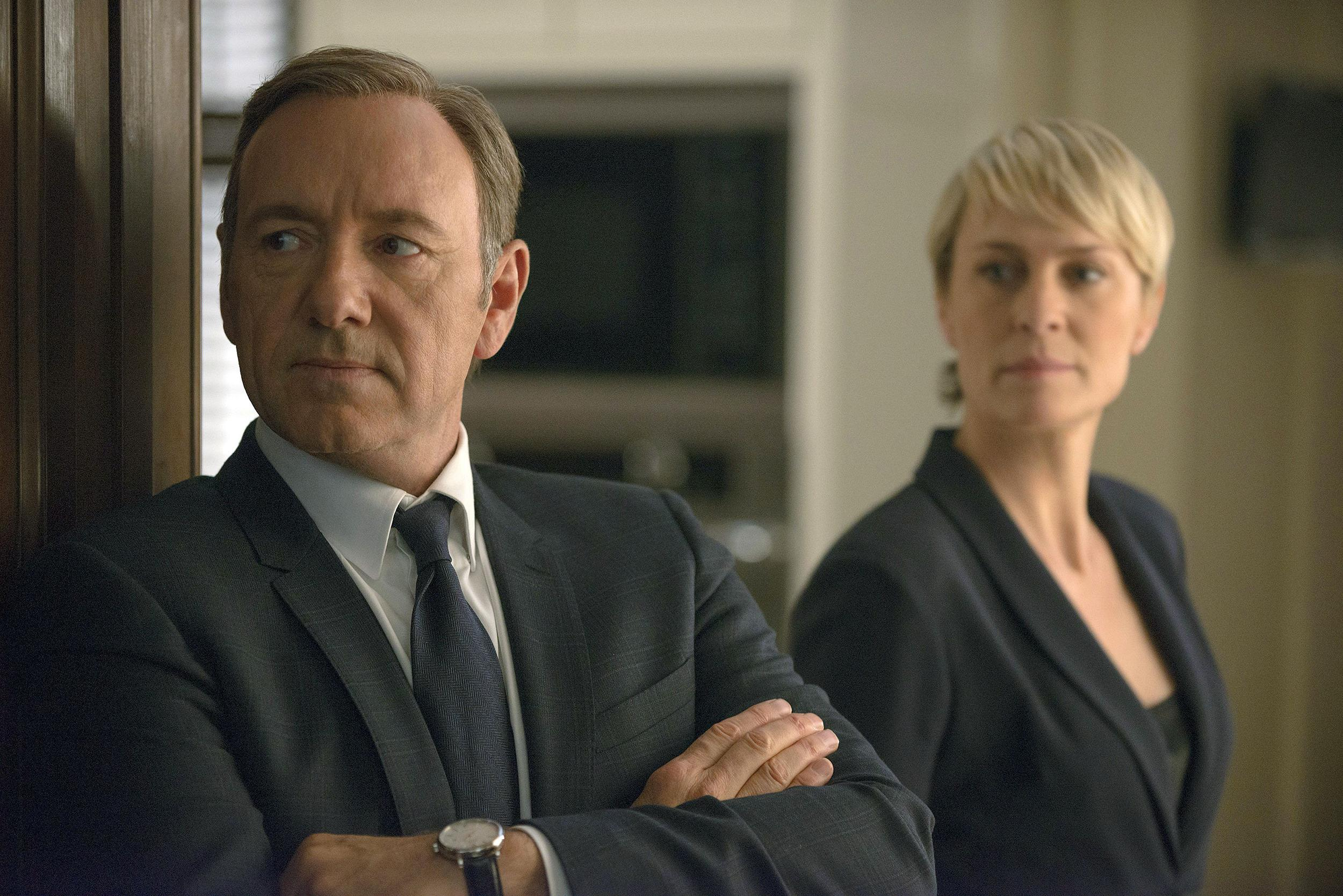 Image: Kevin Spacey as Francis Underwood, left, and Robin Wright as Clair Underwood in a scene from