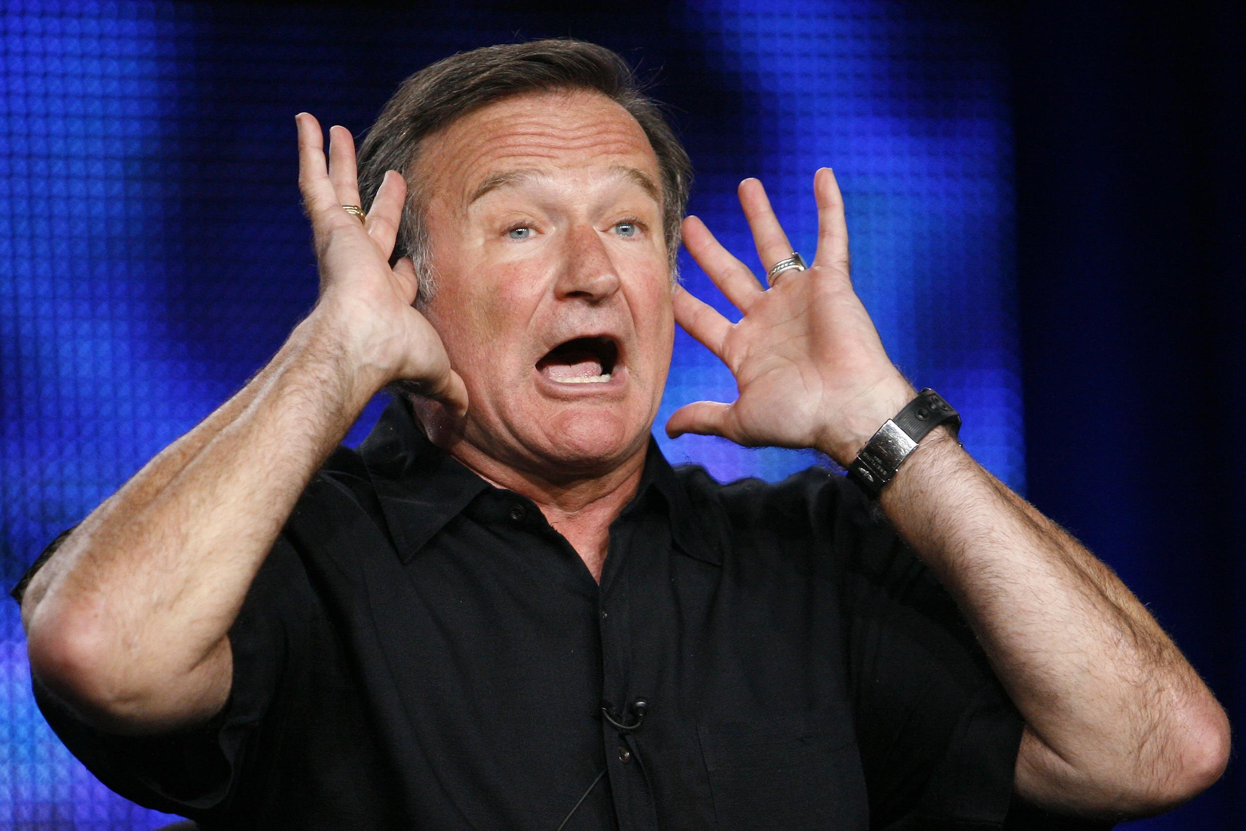 Robin Williams gestures during a panel discussion for his upcoming HBO show