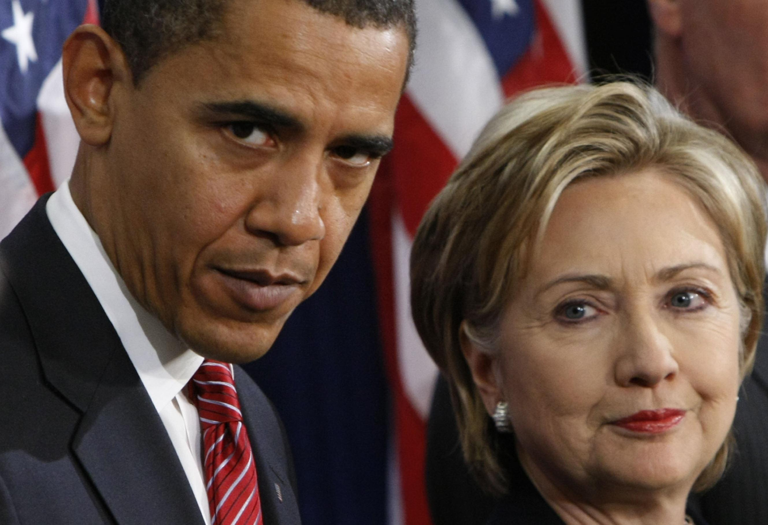 Image: Barack Obama, Hillary Rodham Clinton, Jim Jones