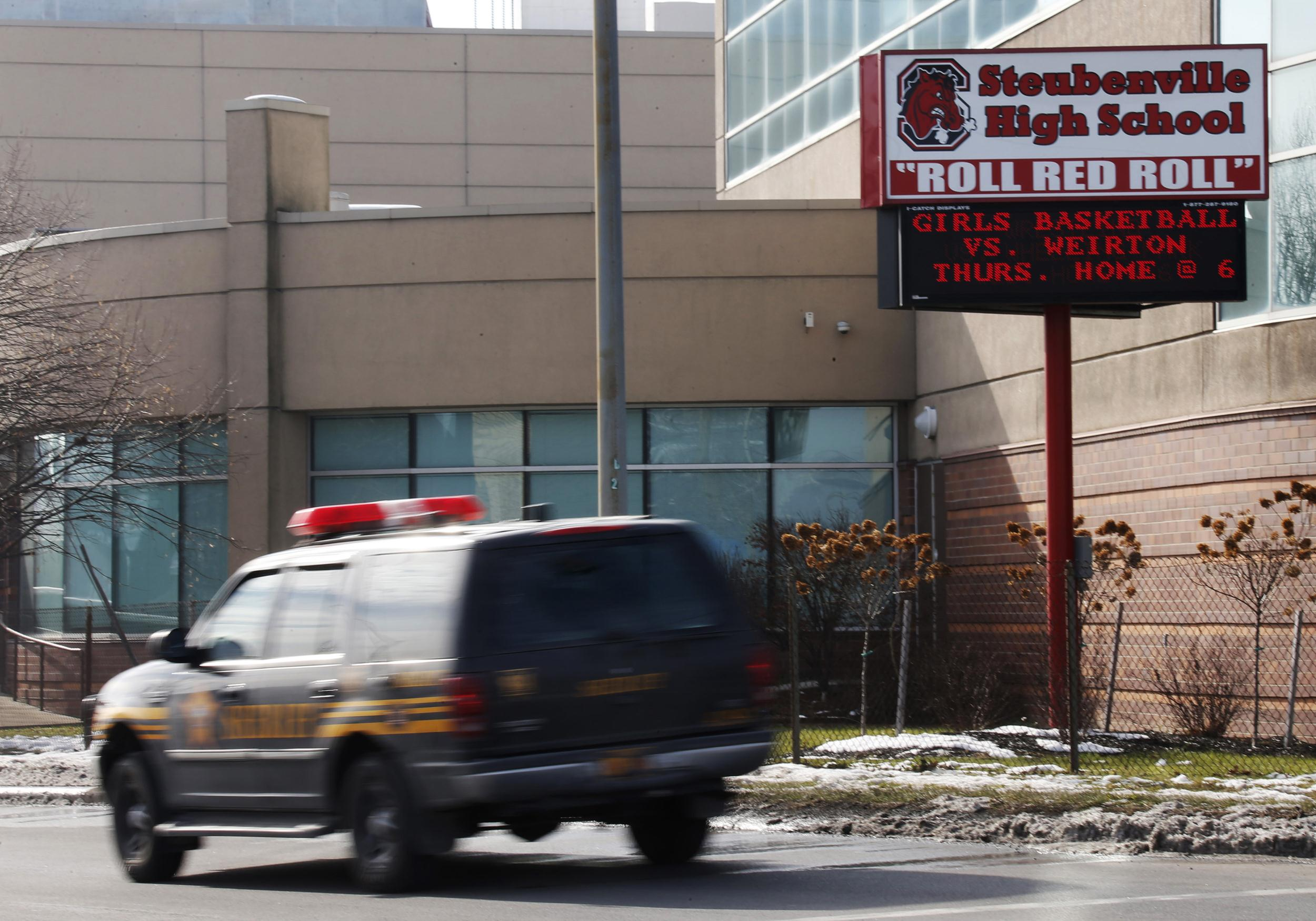 Sheriff's vehicle patrols area around Steubenville High School in Steubenville, Ohio
