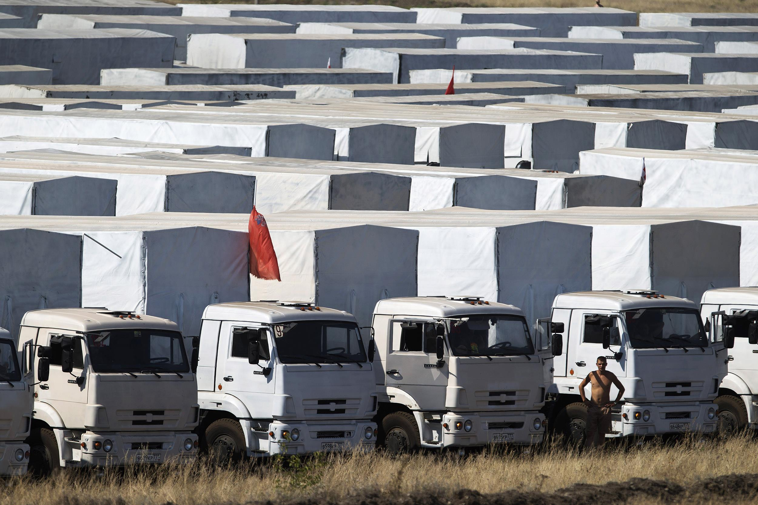 Image: A driver stands near trucks forming part of an aid convoy parked in a field
