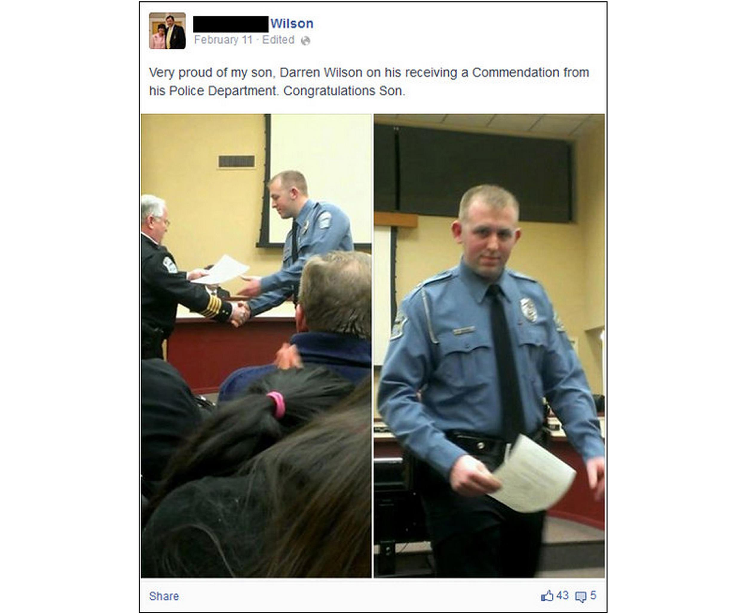 Photos posted to Facebook by Darren Wilson's father show the Ferguson police officer receiving a commendation award from the Police Dept.