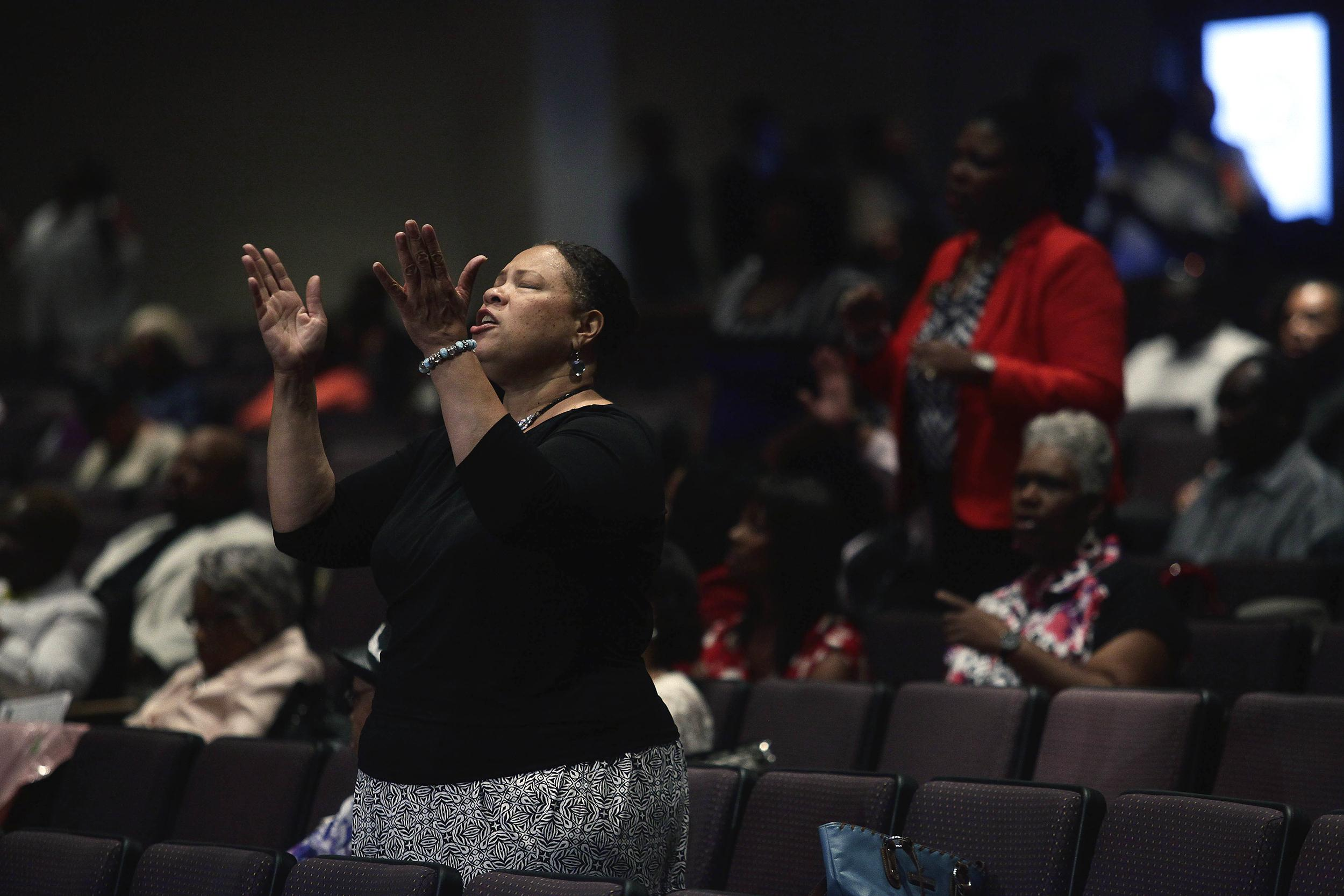 Image: Ferguson Residents Attend Sunday Service At Local Church