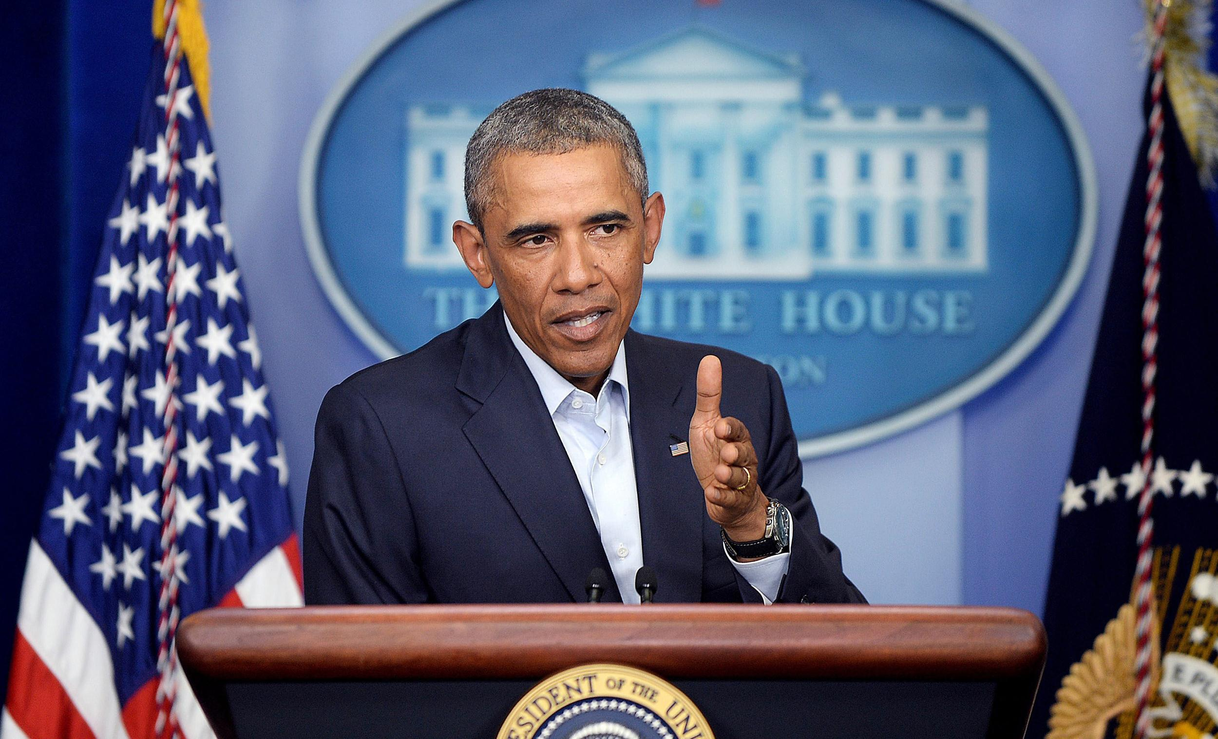 Image: President Obama delivers a statement to provide an update on Iraq and the situation in Ferguson, Missouri - DC