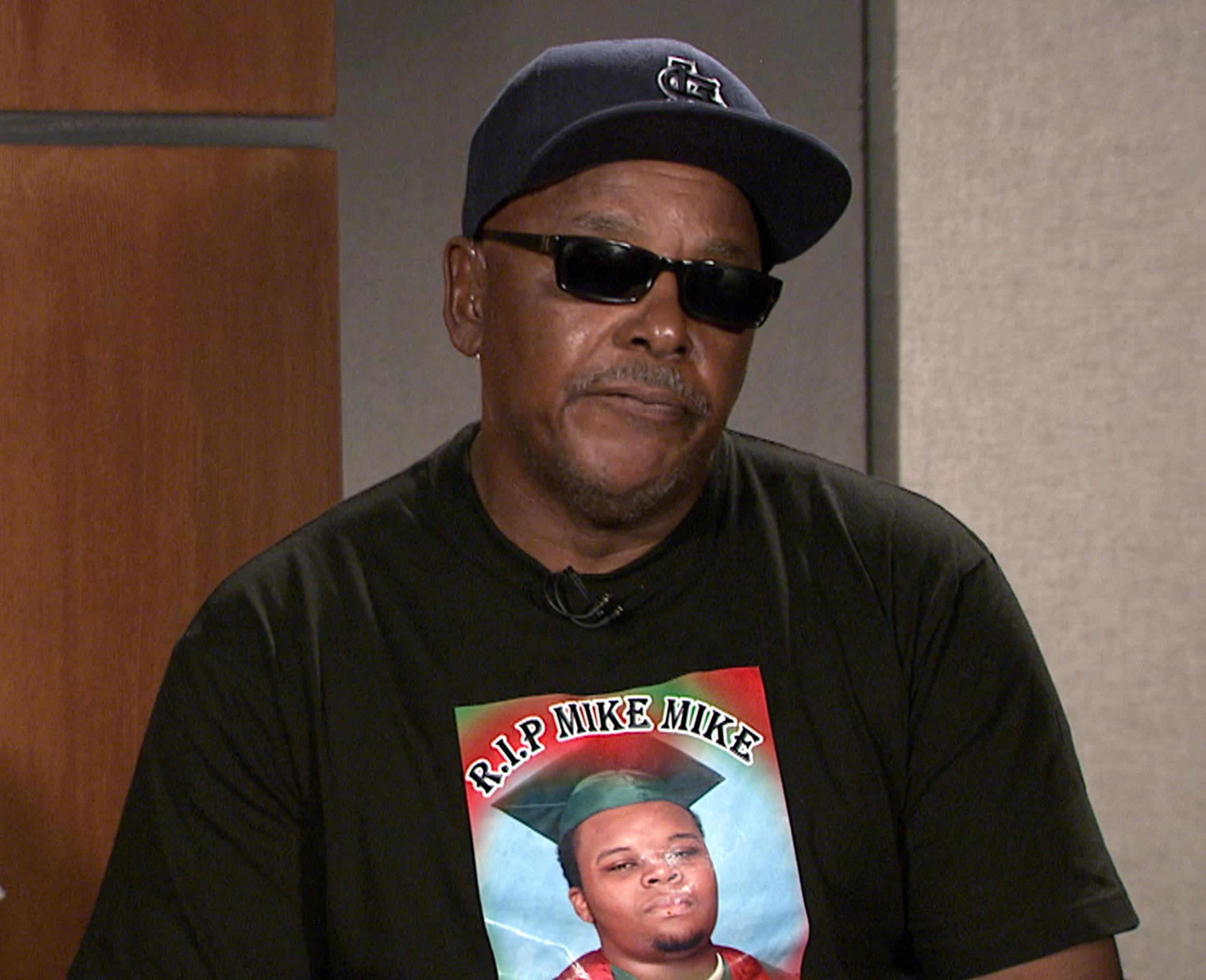 Image: Les McSpadden, Michael Brown's grandfather, speaks with the Rev. Al Sharpton on Politics Nation.