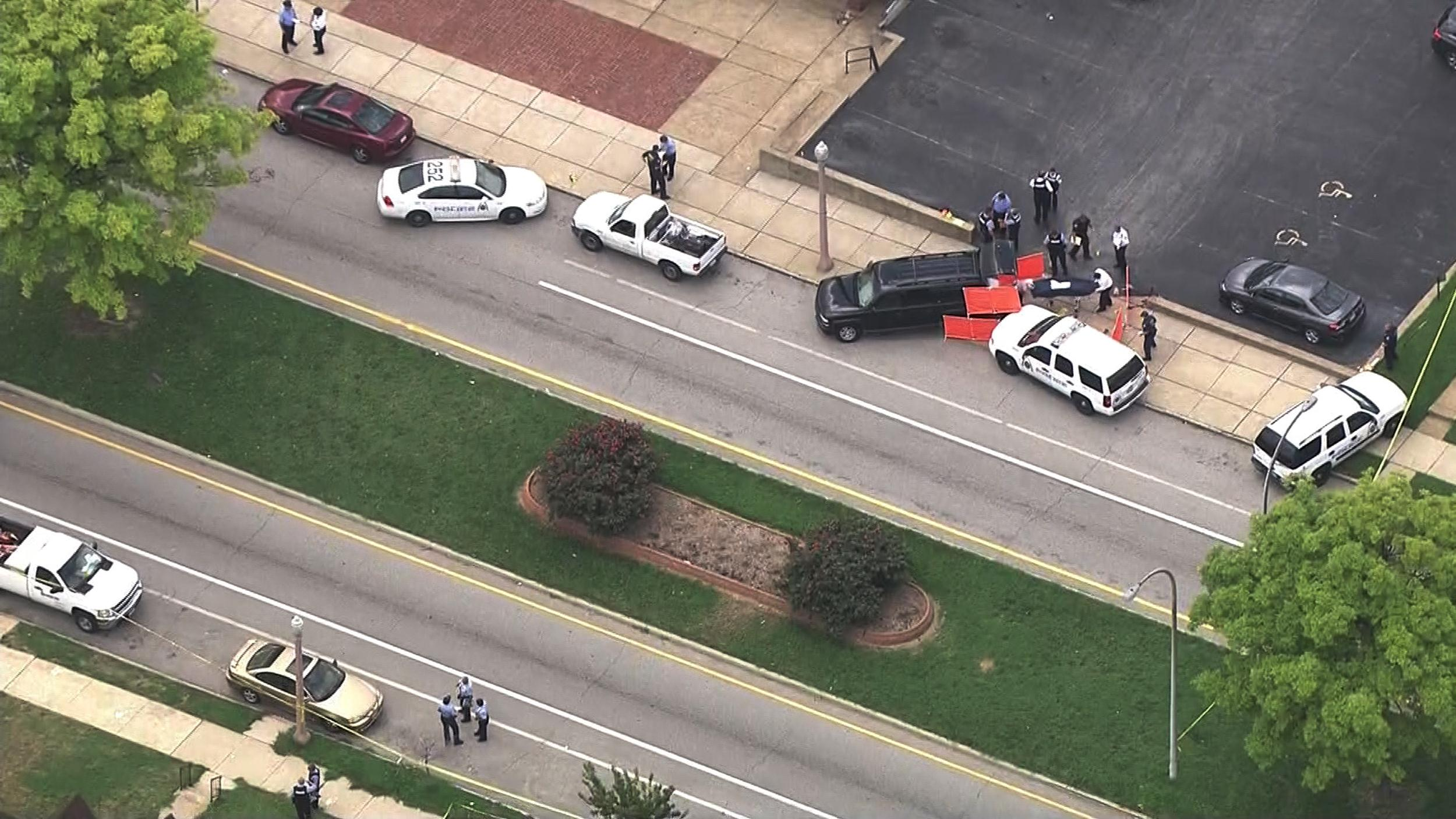 Image: Police at the scene of an officer-involved shooting in north St. Louis.