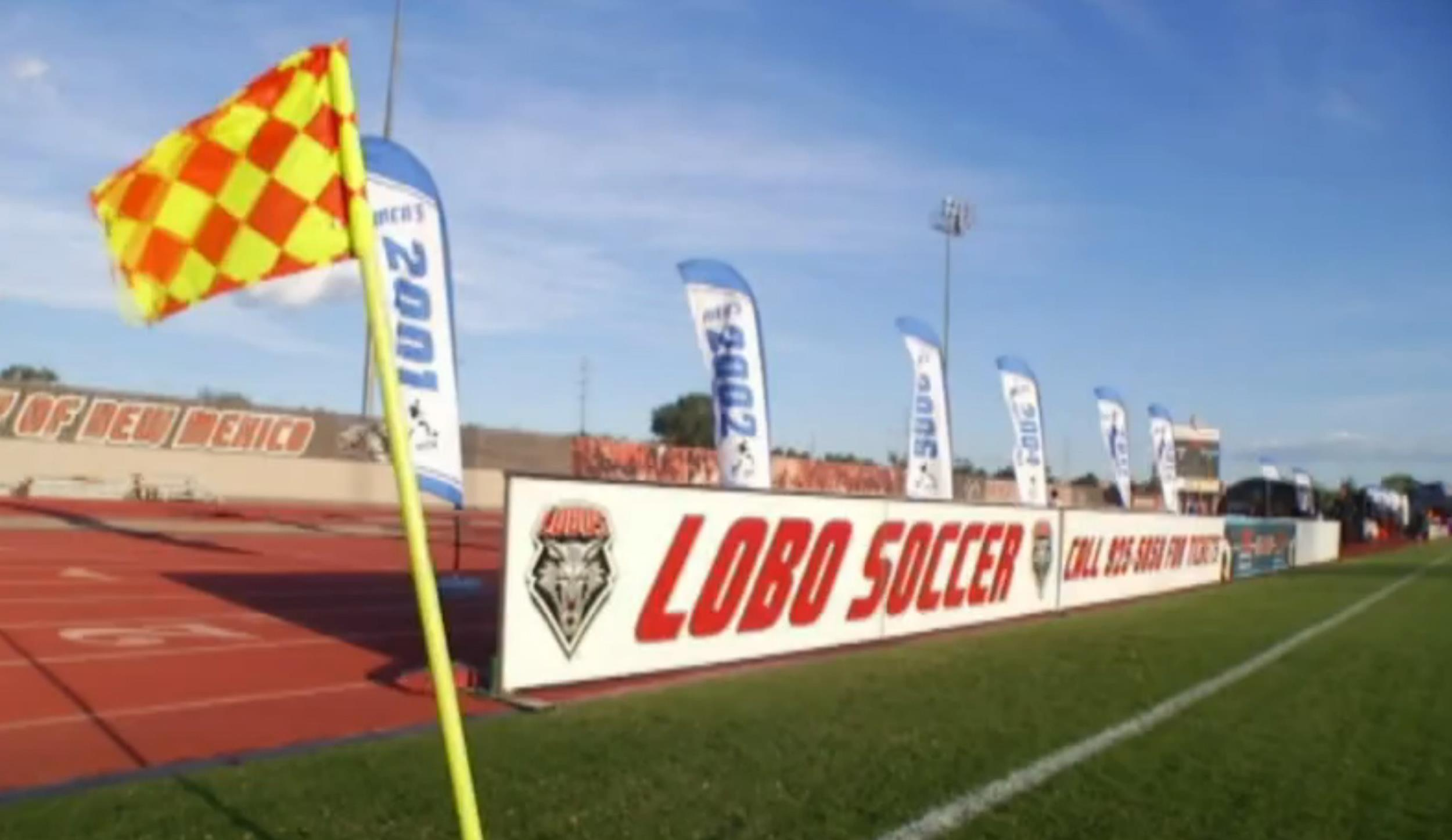 Image: A sign on a field for University of New Mexico's Lobo soccer team