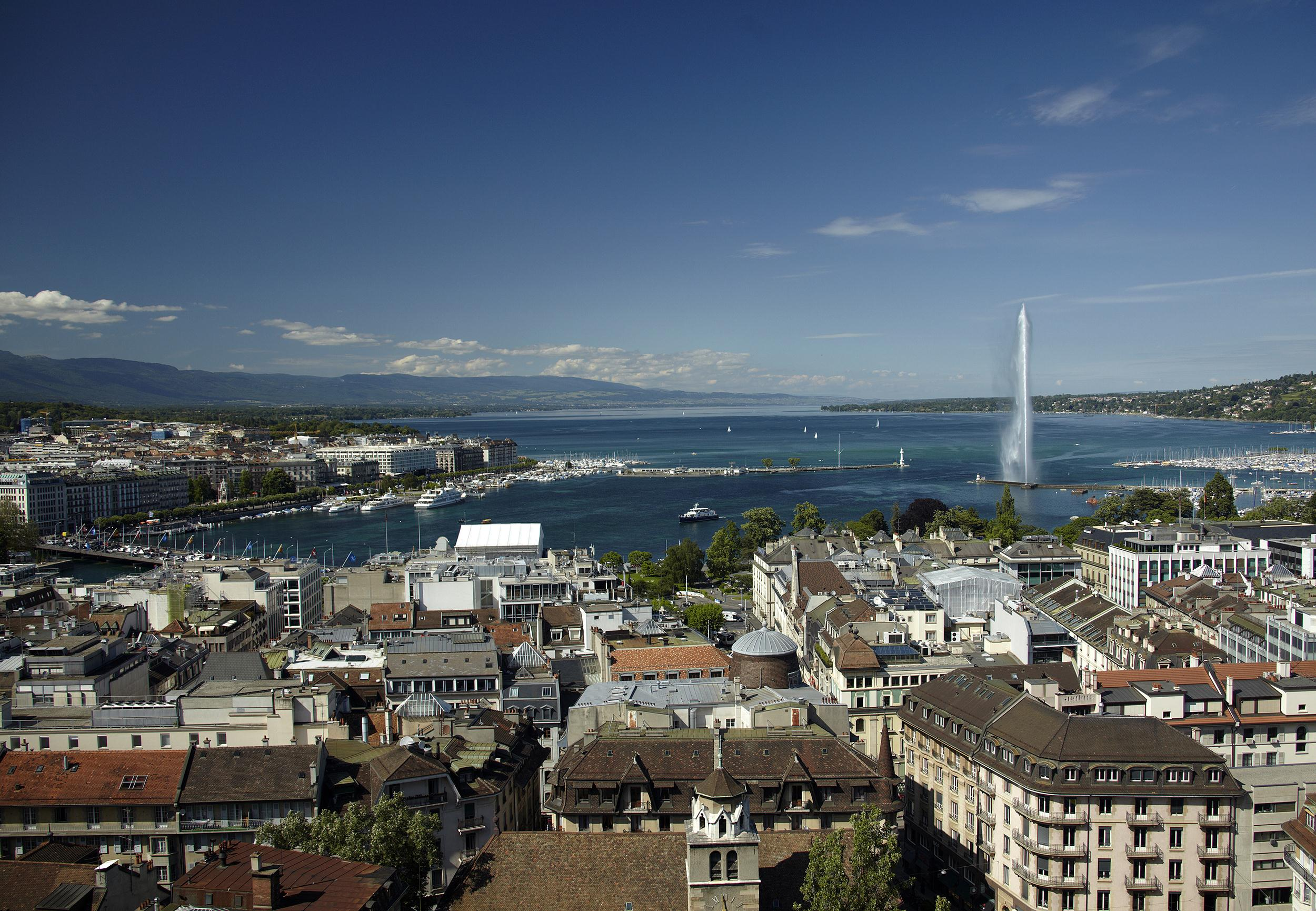 Overview picture shows Jet d'Eau and Lake Leman from the St-Pierre Cathedrale in Geneva