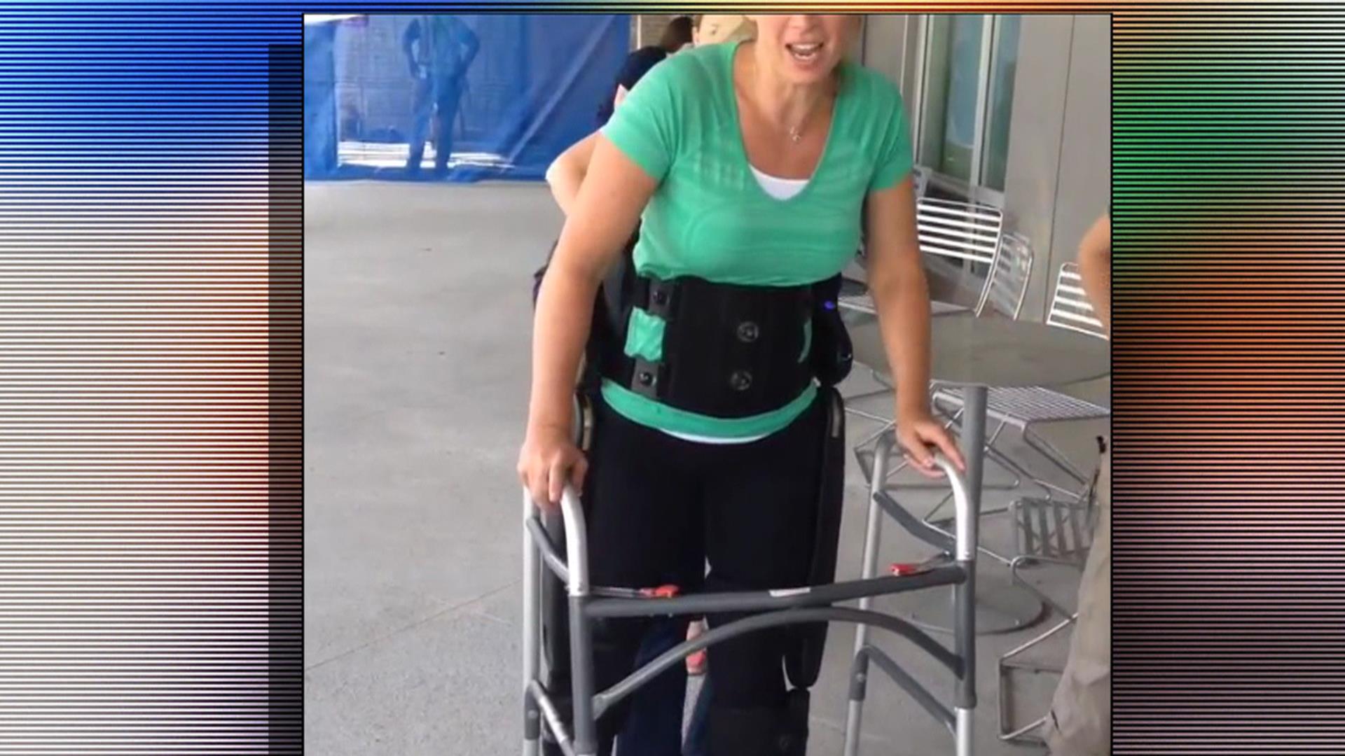 Paralyzed Amy Van Dyken-Rouen Takes First Steps