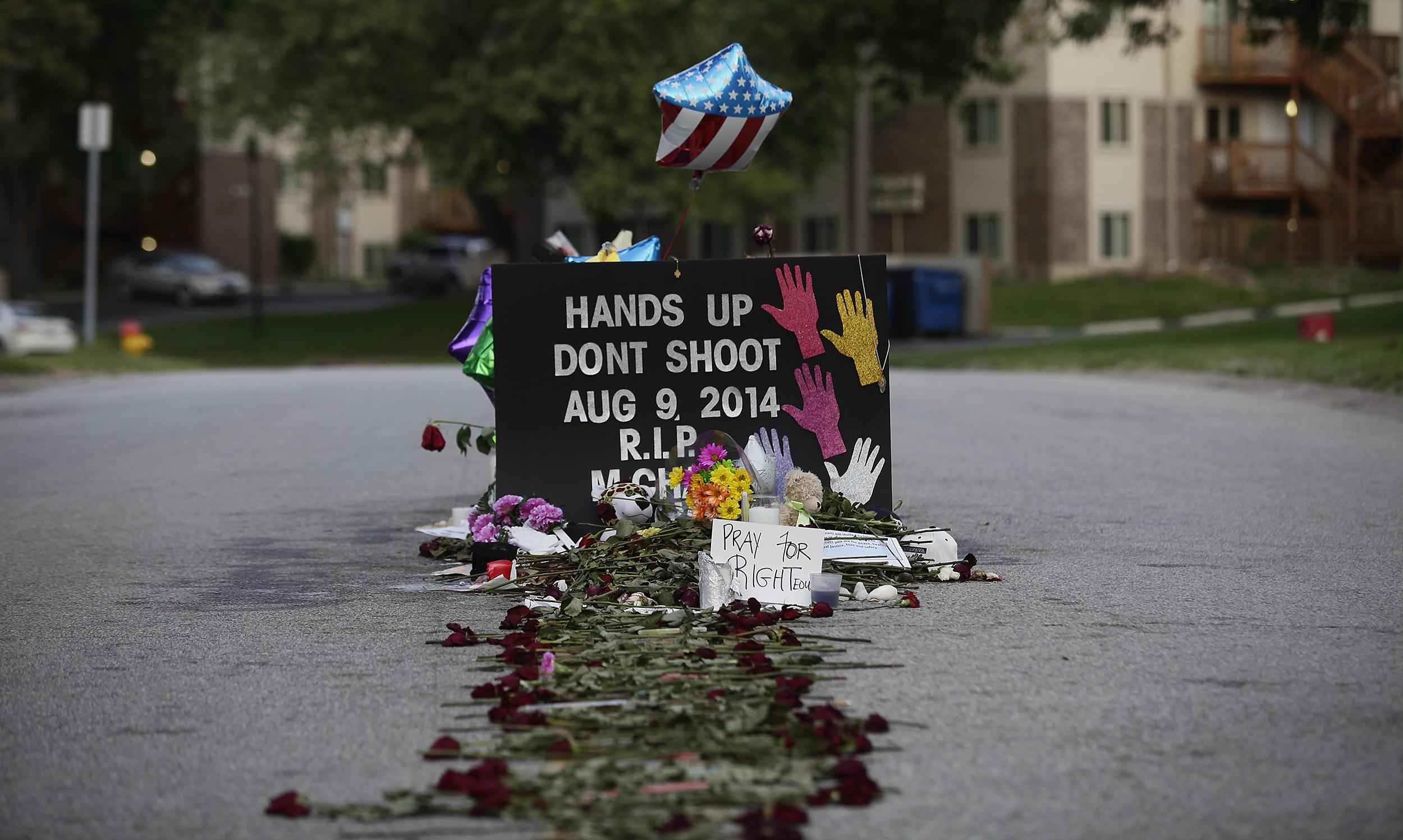 Image: Roses line the street leading to a makeshift memorial for Michael Brown on August 22 in Ferguson, Missouri.