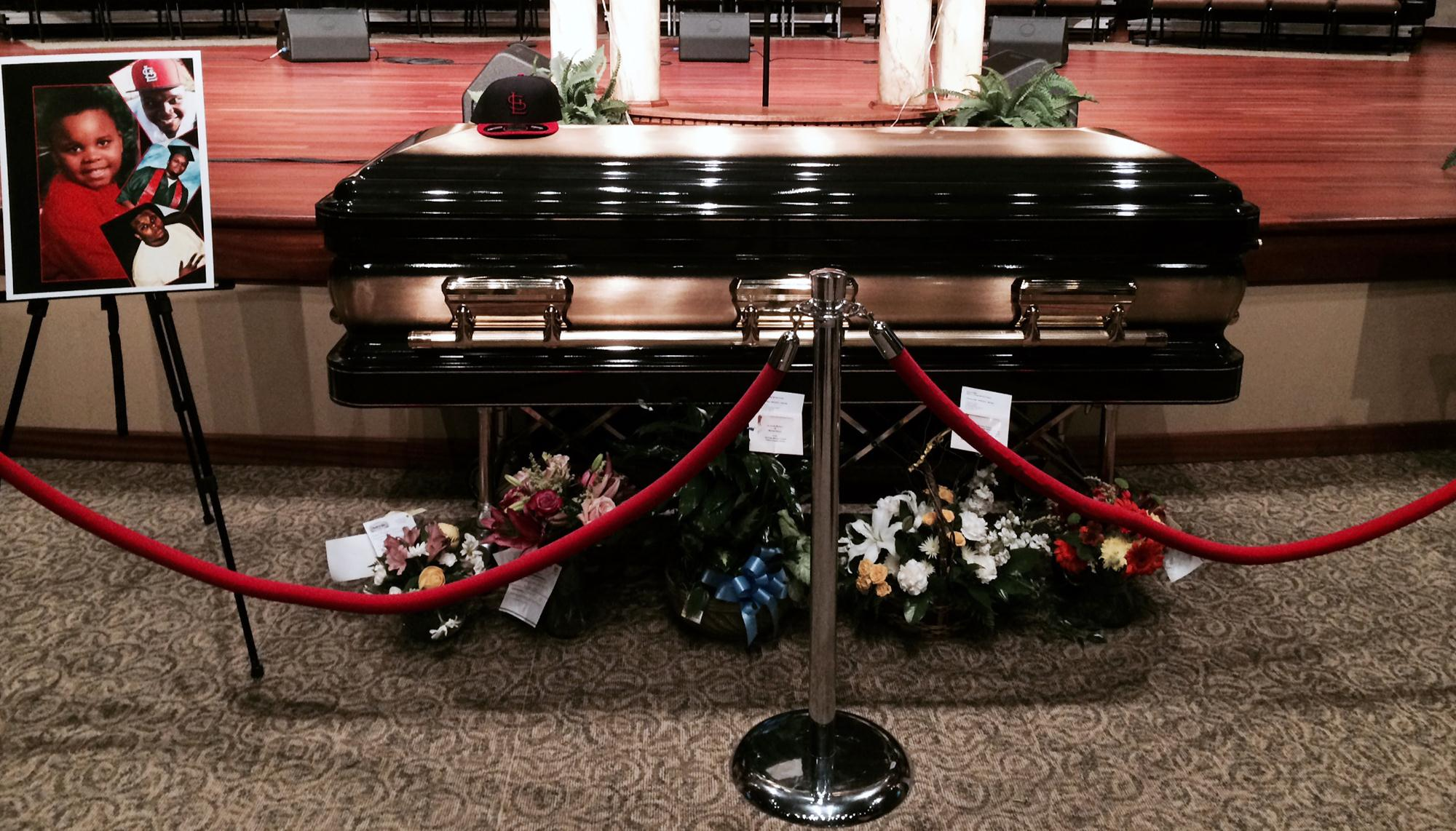 Image: Michael Brown's casket lies at the Friendly Temple Missionary Baptist Church