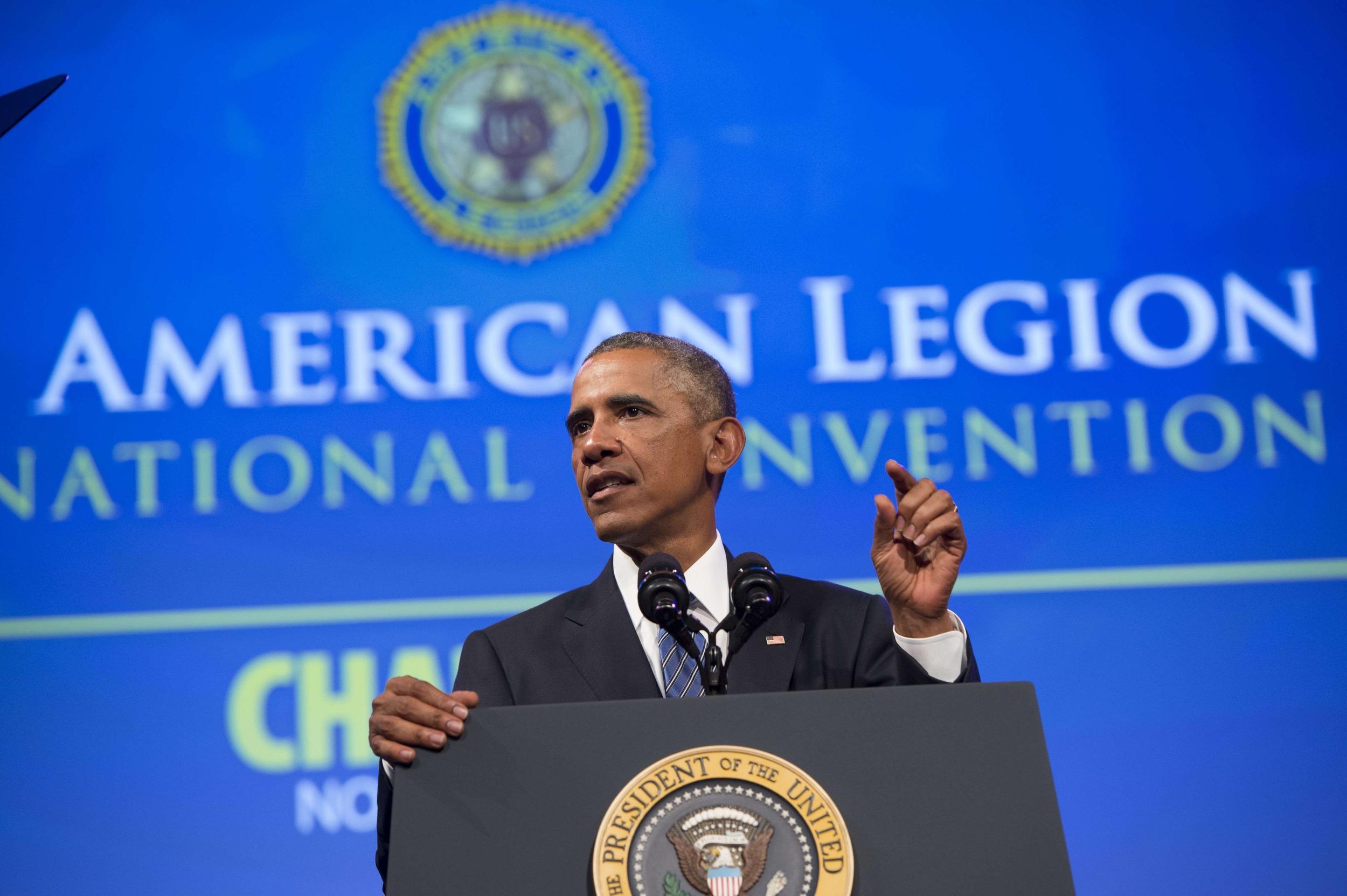 Image: US-POLITICS-OBAMA-AMERICAN-LEGION