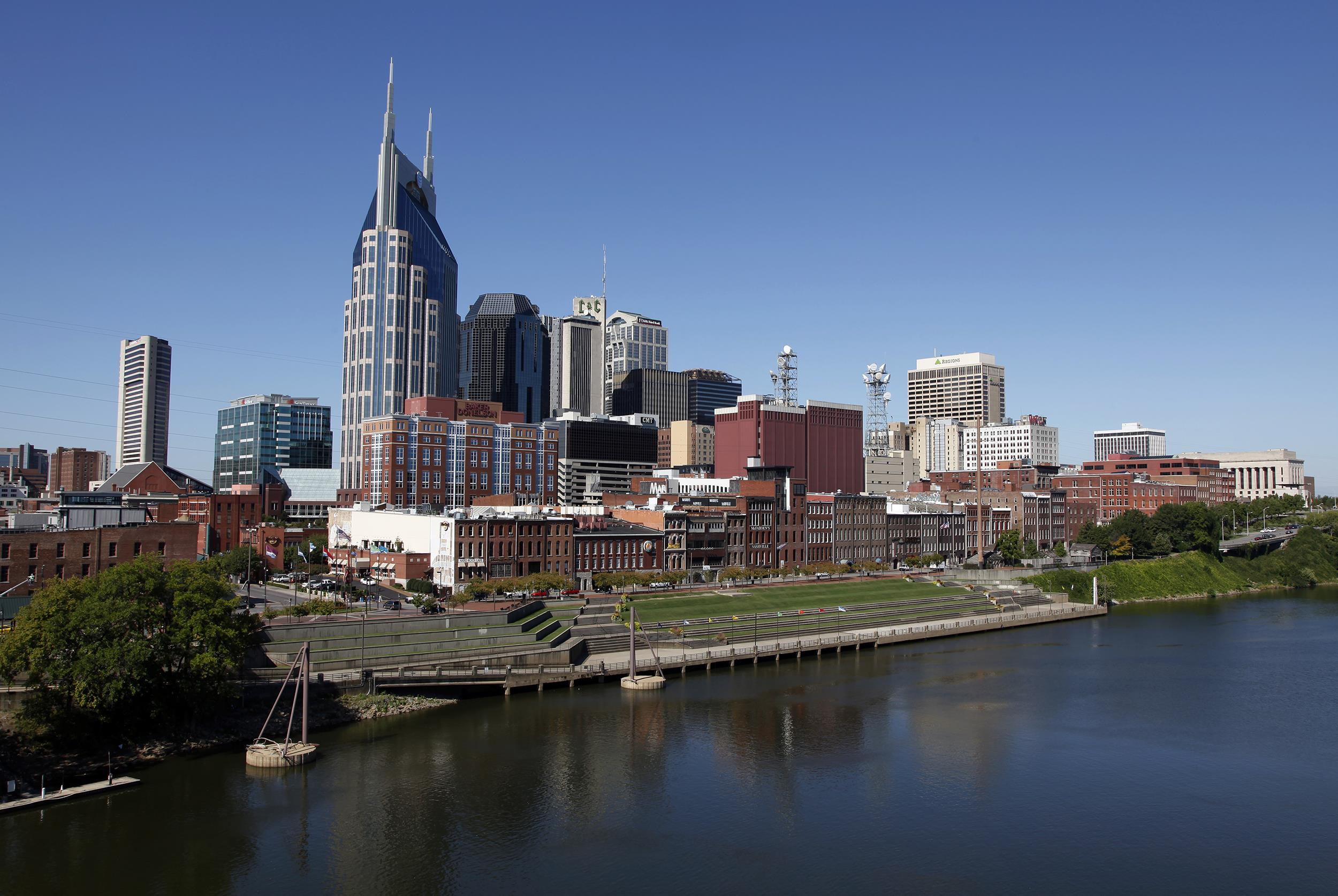 Image: The Nashville, Tenn. downtown area and the Cumberland River on Sept. 27, 2011.
