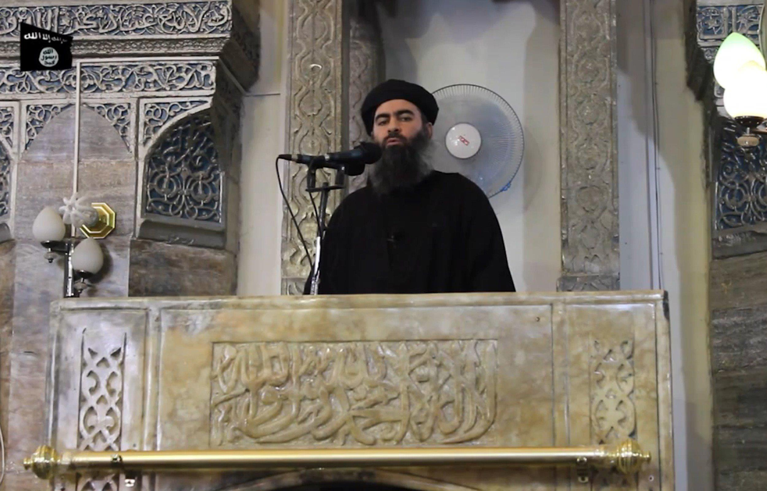 Image: the leader of the Islamic State (IS) jihadist group, Abu Bakr al-Baghdadi,
