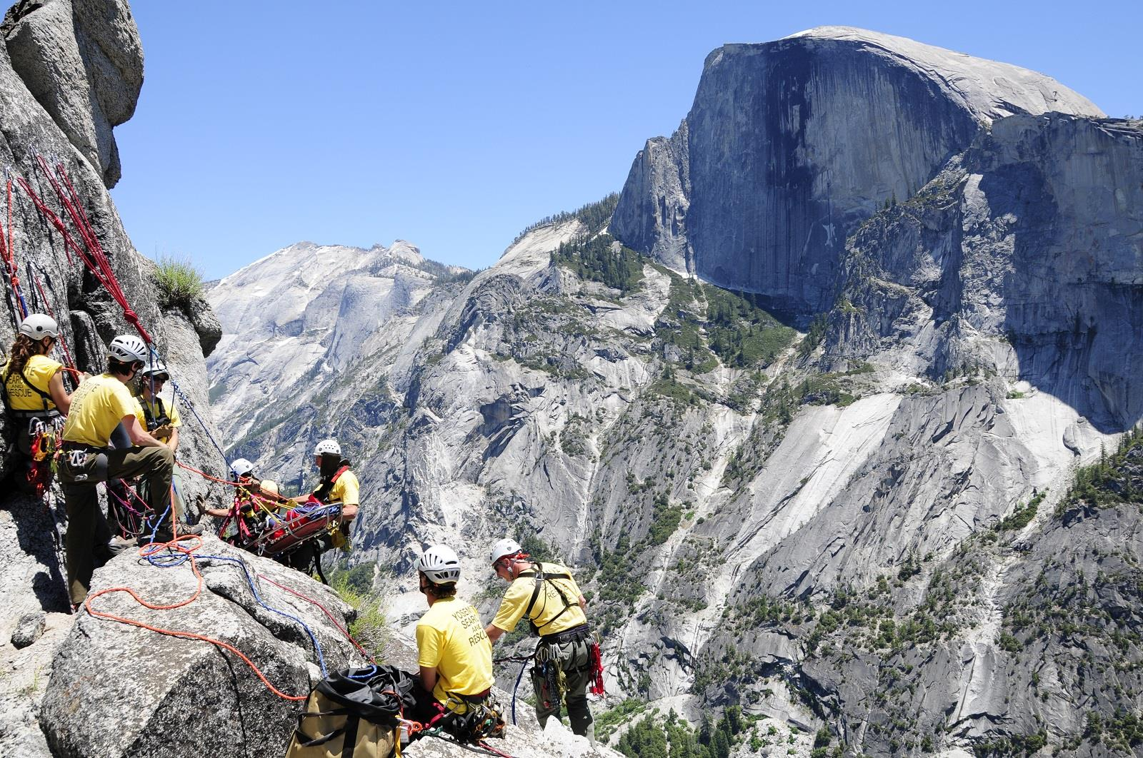 Image: A Yosemite National Park Search and Rescue team conducts a technical rope rescue training.