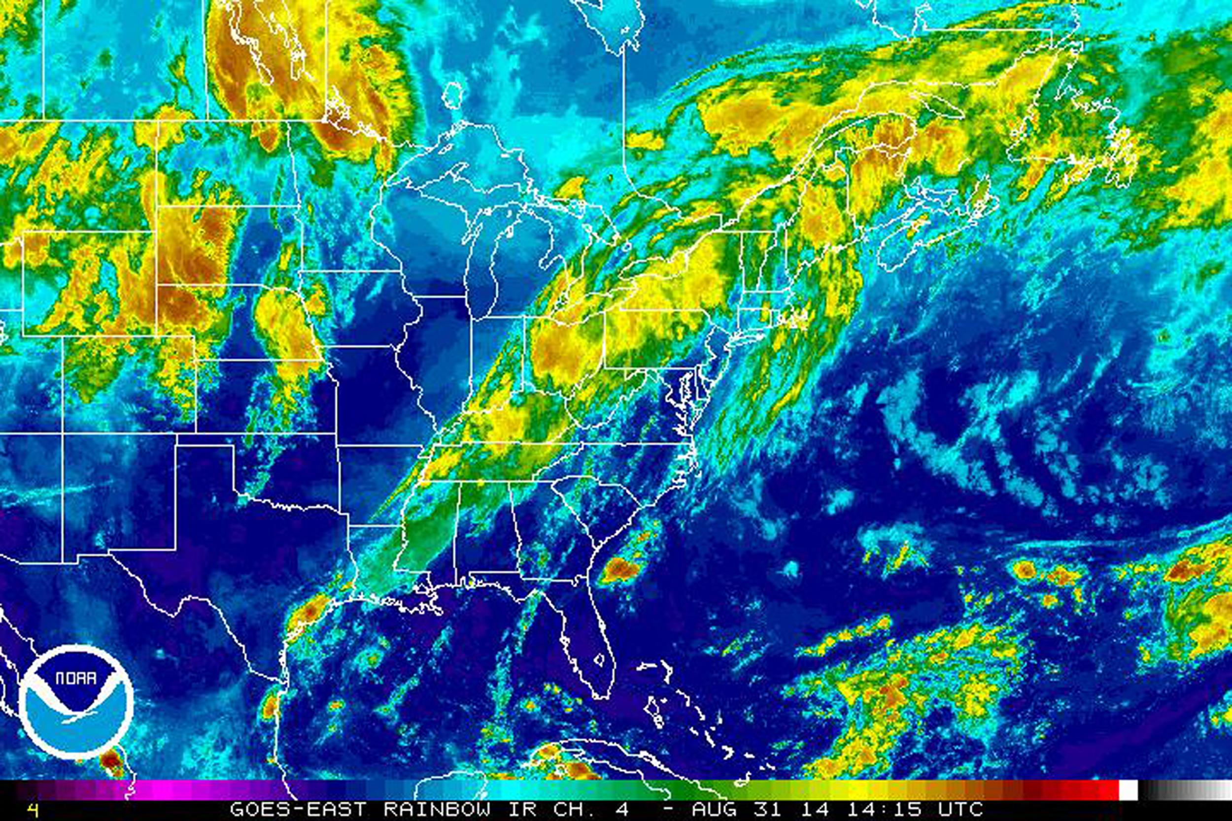 Satellite view of weather conditions on Aug. 31.