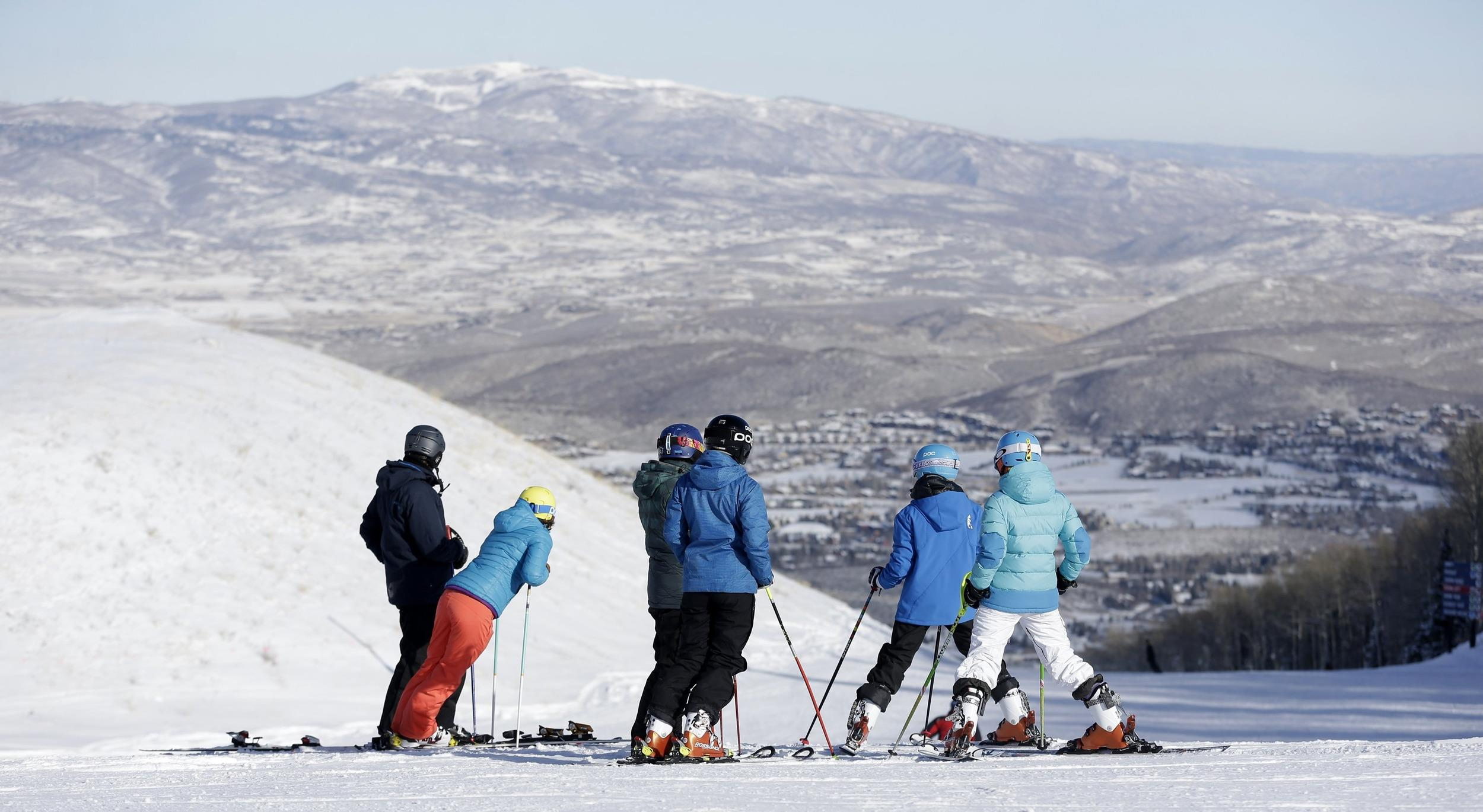 Image: Skiiers at Park City Mountain Resort in Park City, Utah