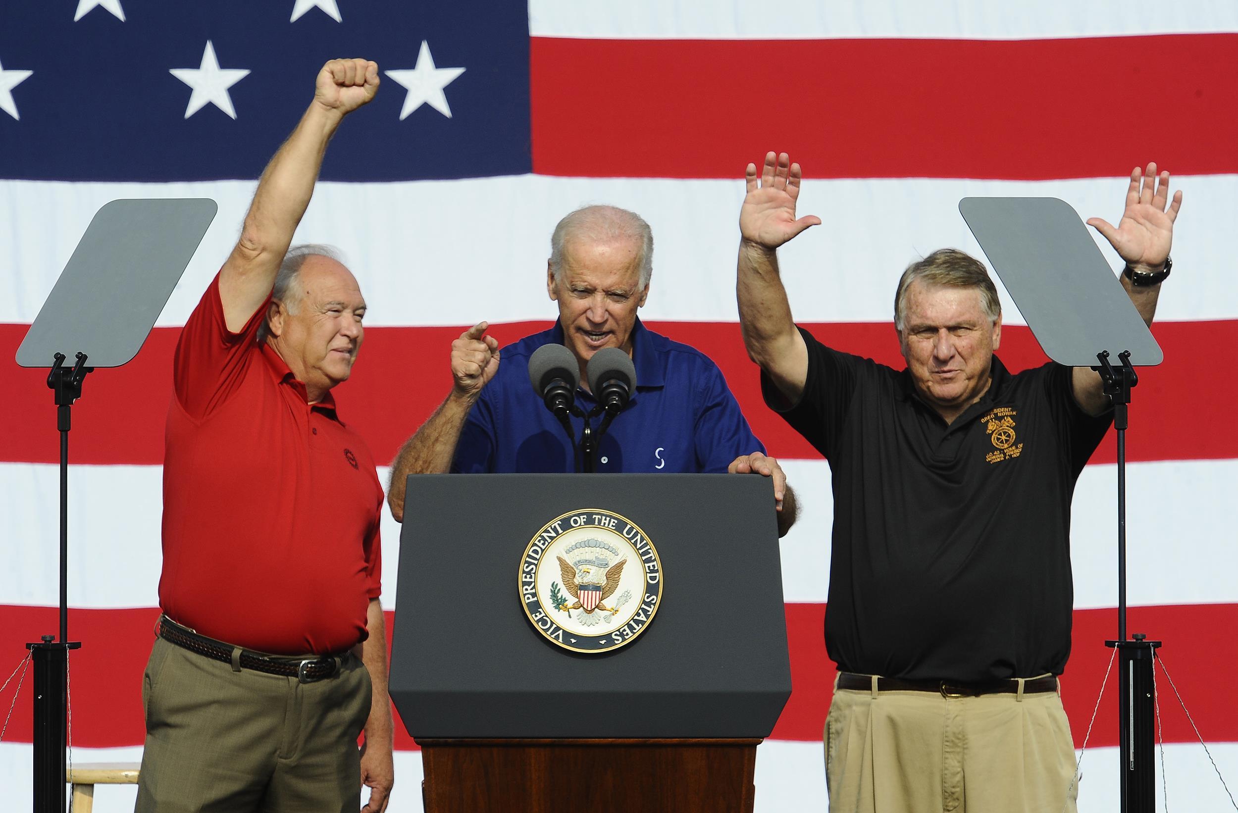 Image: UAW President Dennis Williams, United States Vice President Joe Biden and Teamsters President James Hoffa