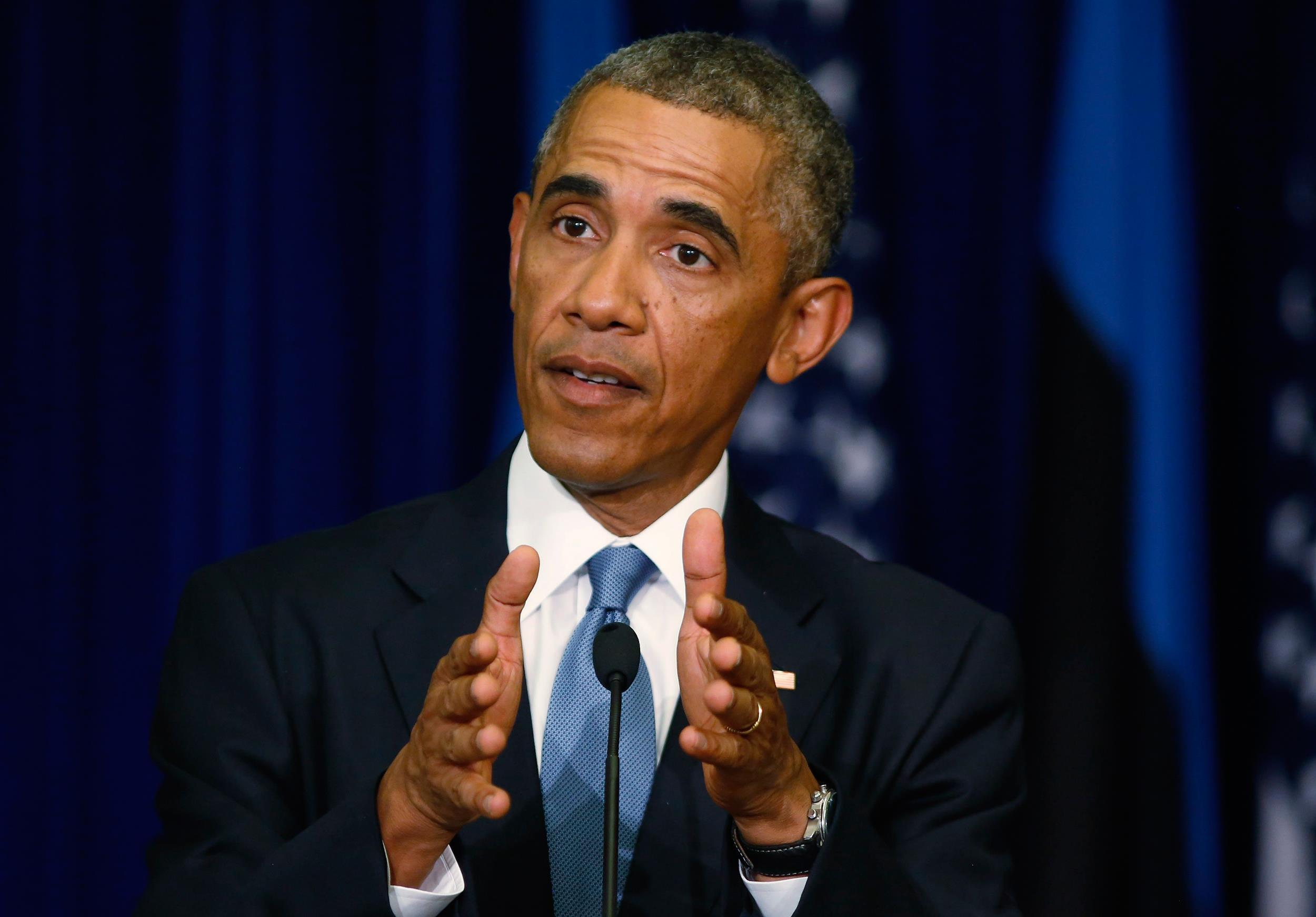 Image: U.S. President Obama talks during a news conference at the Bank of Estonia in Tallinn