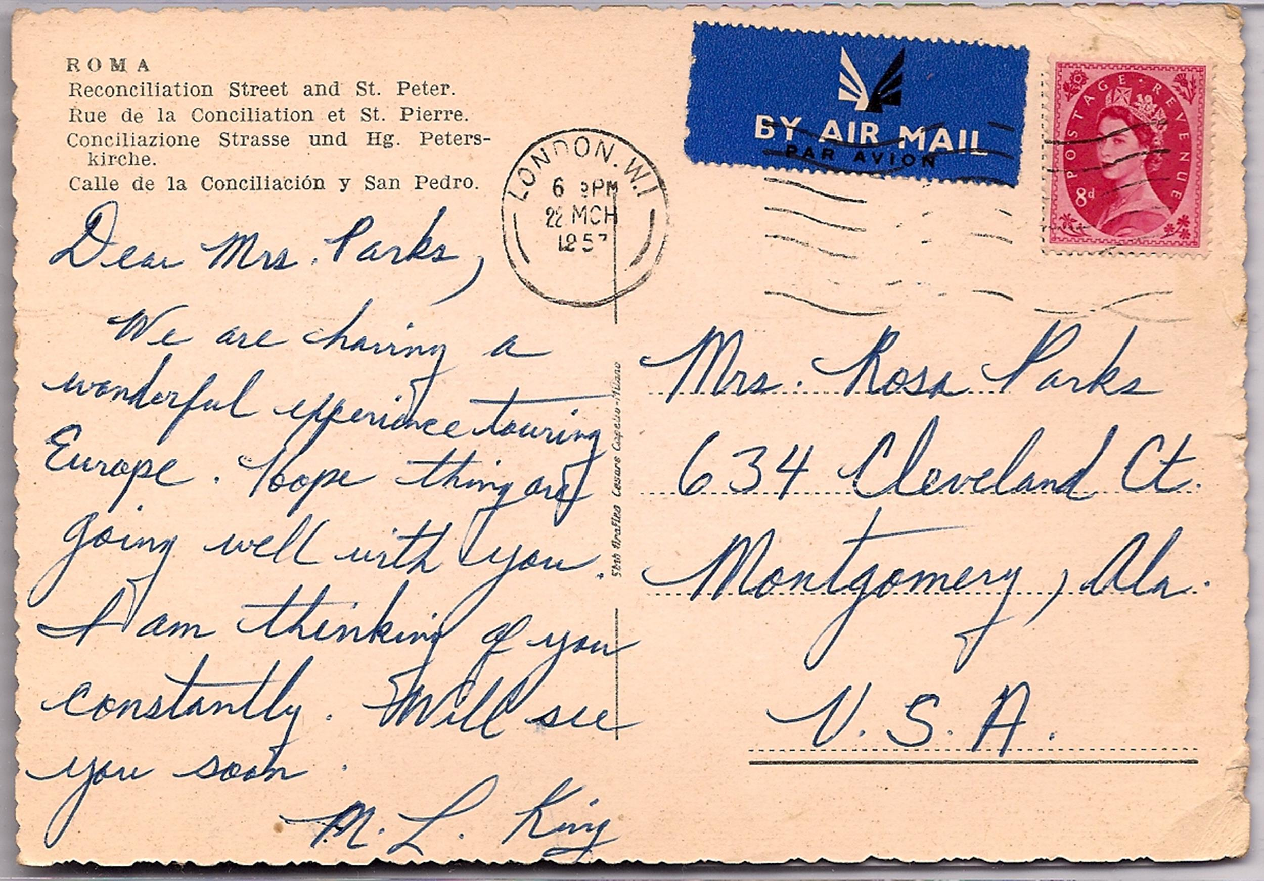 Image: Postcard from Dr. King to Rosa Parks