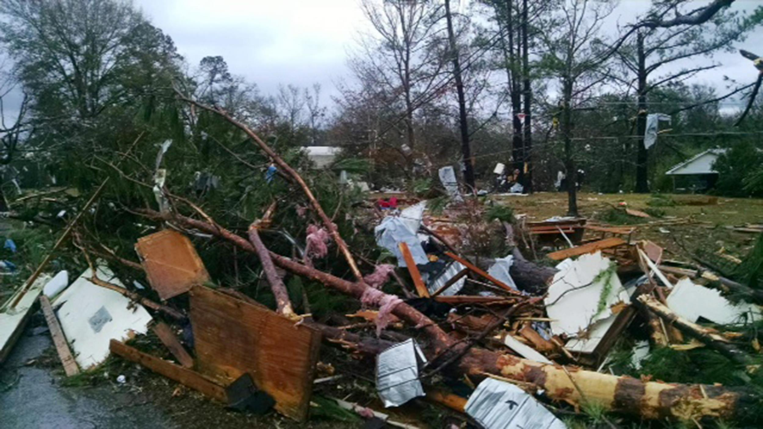 Image: Tornado damage in Tangipahoa Parish, in the Amite City area of Louisiana