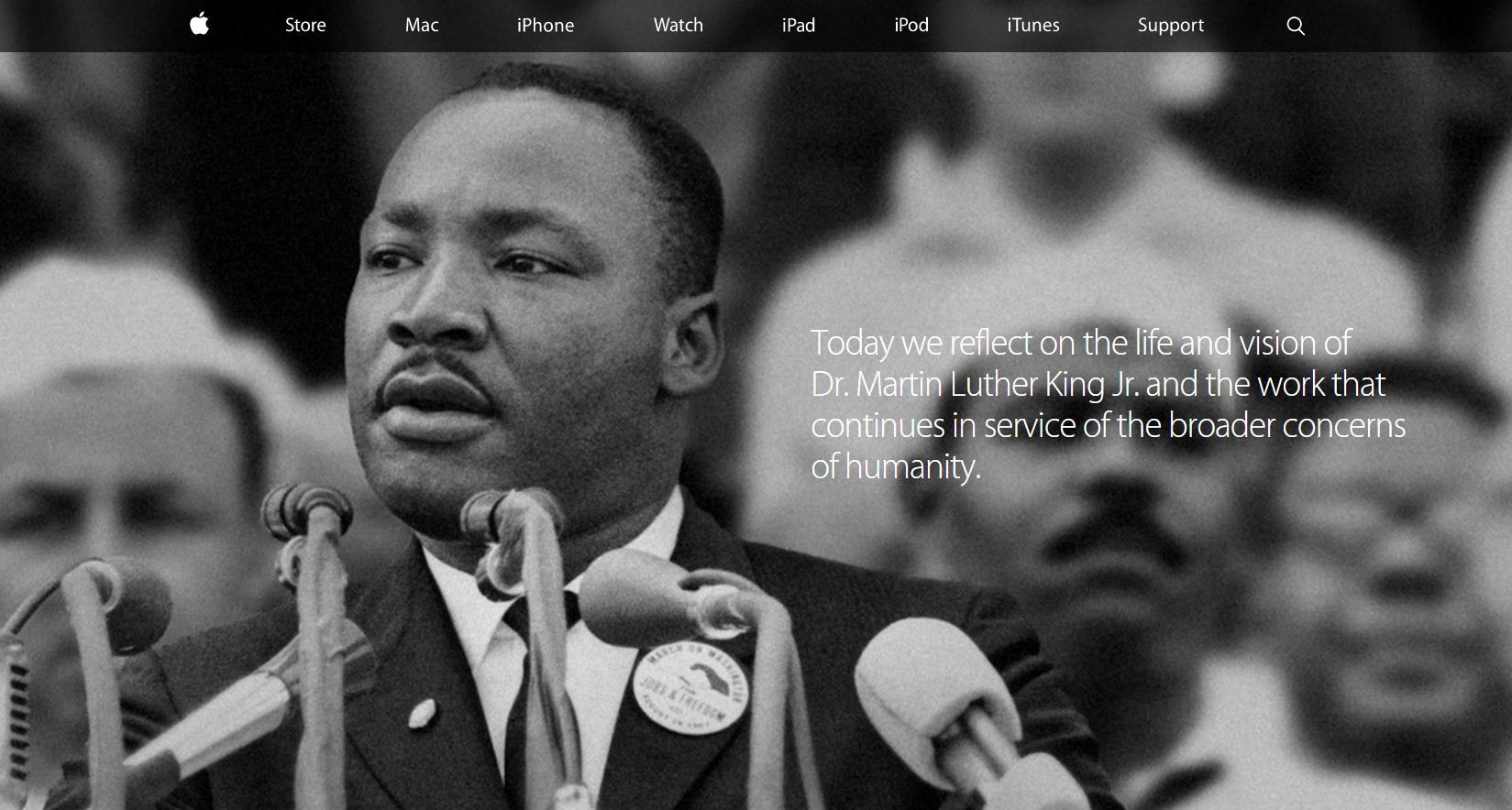 Apple Pays Tribute to Martin Luther King Jr. on its Homepage