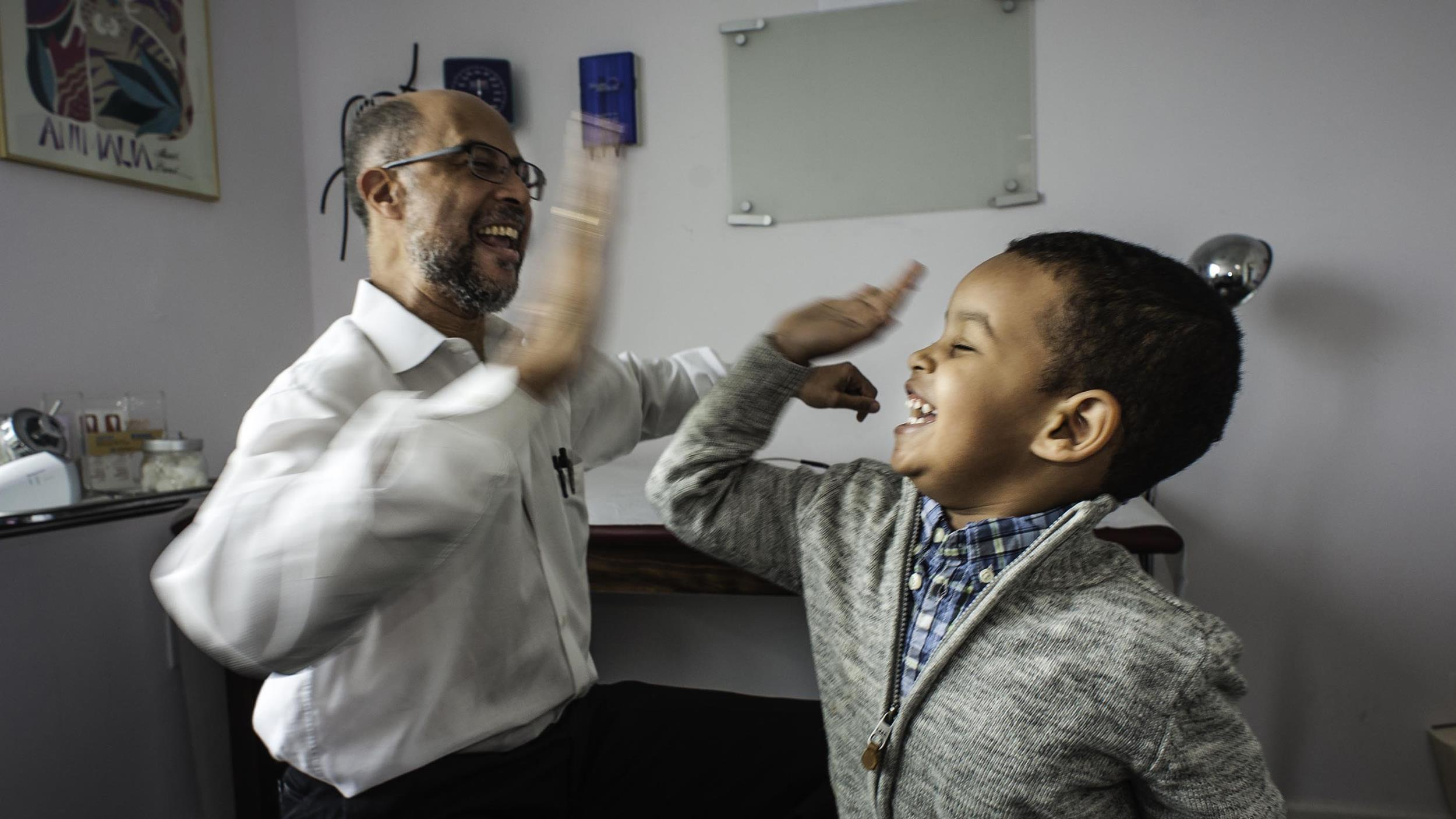 Meet the Maryland doctor who makes kids laugh while giving