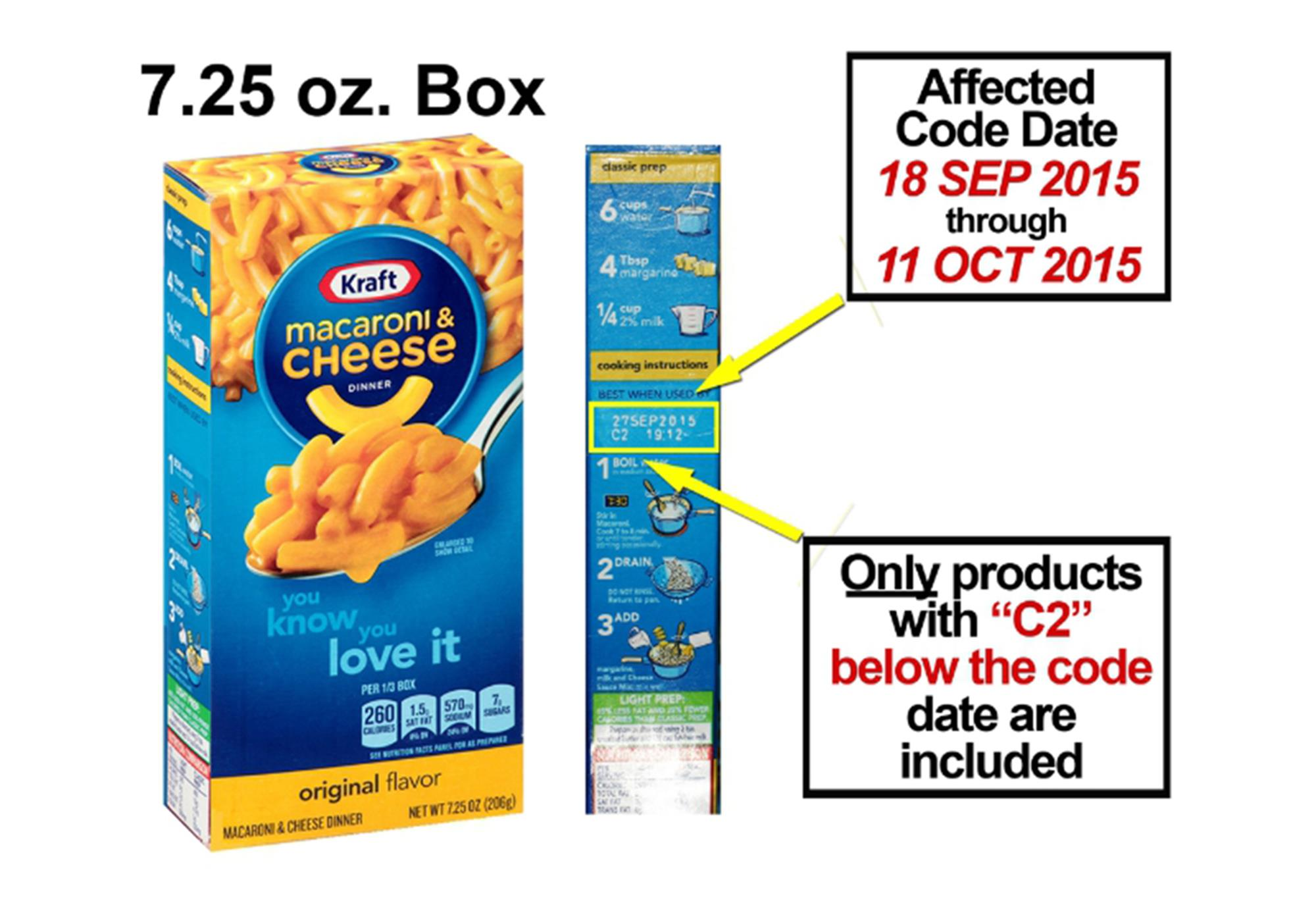 Kraft recalls 6 5 million boxes of mac and cheese that for Mac due the box