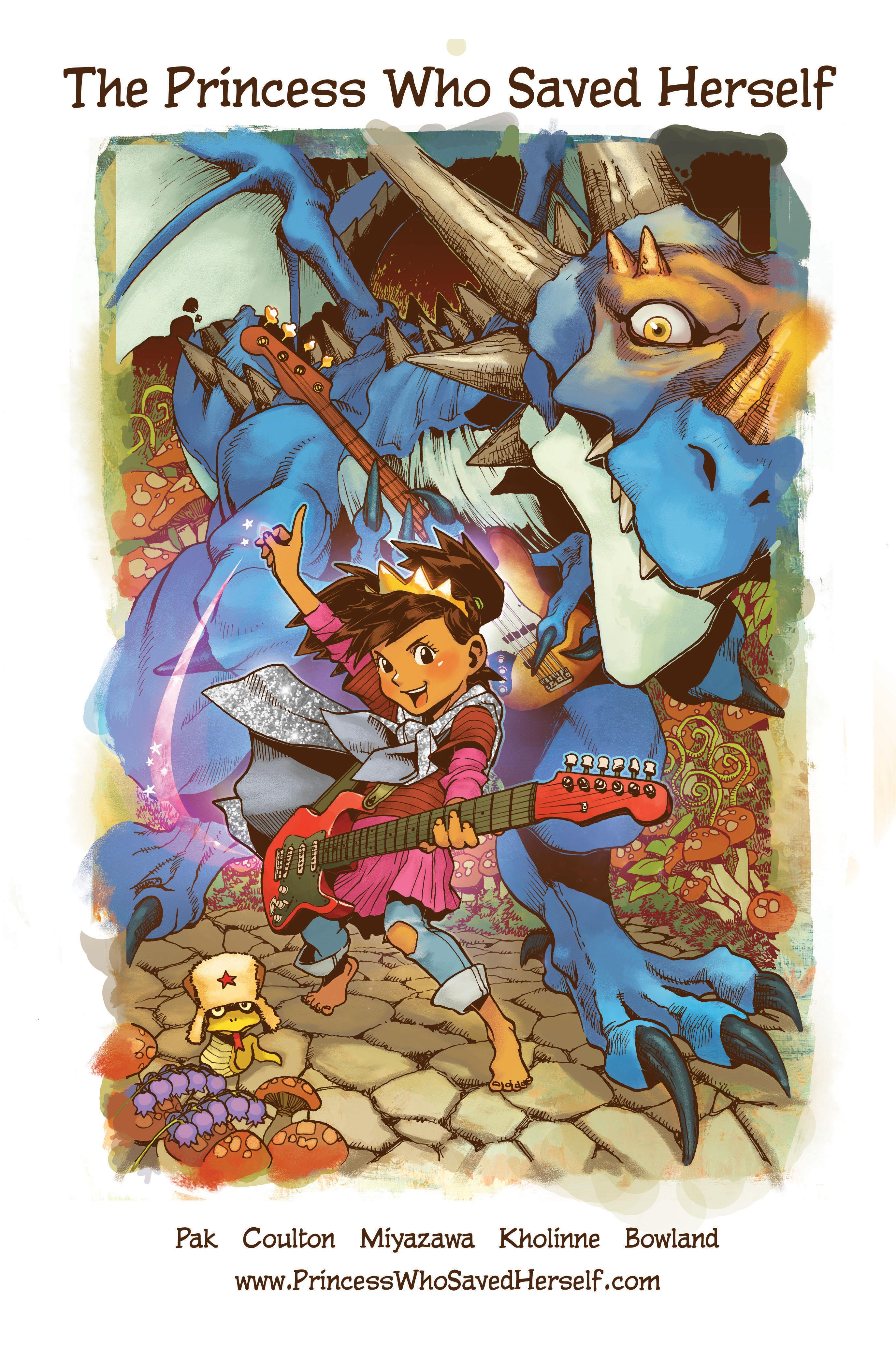 """Cover of children's picture book, """"The Princess Who Saved Herself,"""" written by filmmaker and writer Greg Pak, based on the song by singer/songwriter Jonathan Coulton, and illustrated by artist Takeshi Miyazawa."""