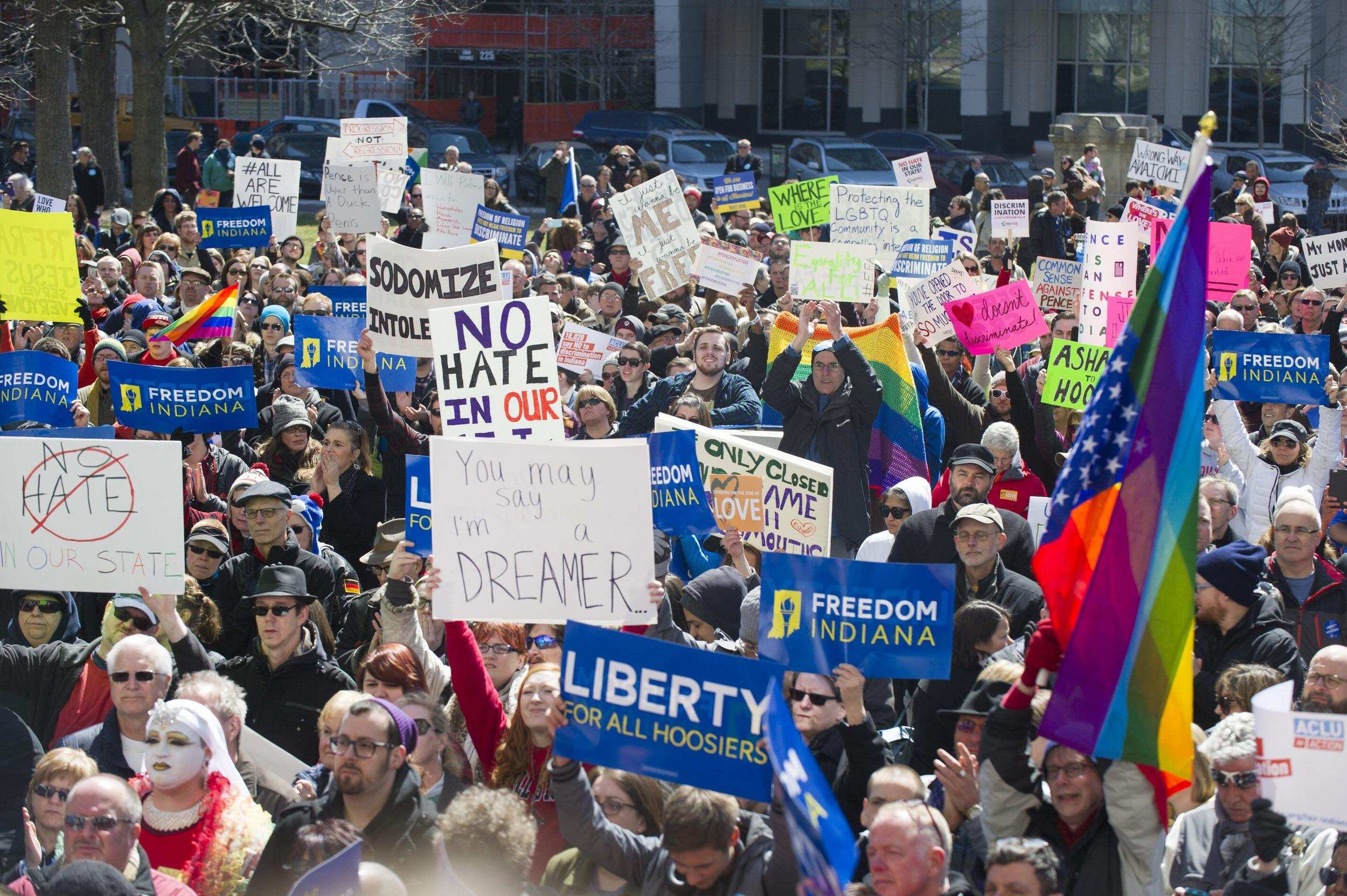 Hundreds Protest Indiana's 'Religious Freedom' Law