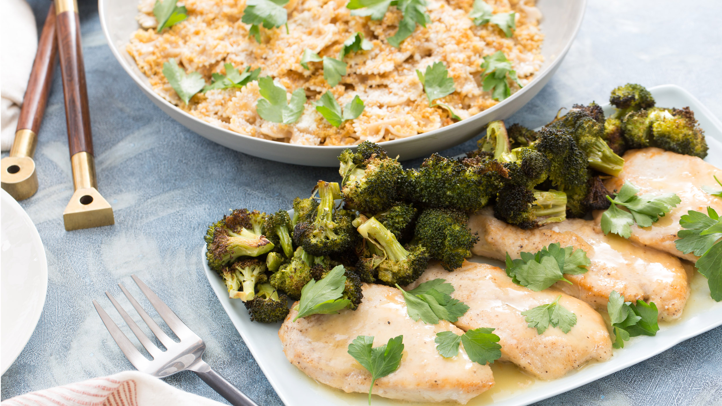 Chicken Scallopini With Roasted Broccoli And Farfalle Today Com
