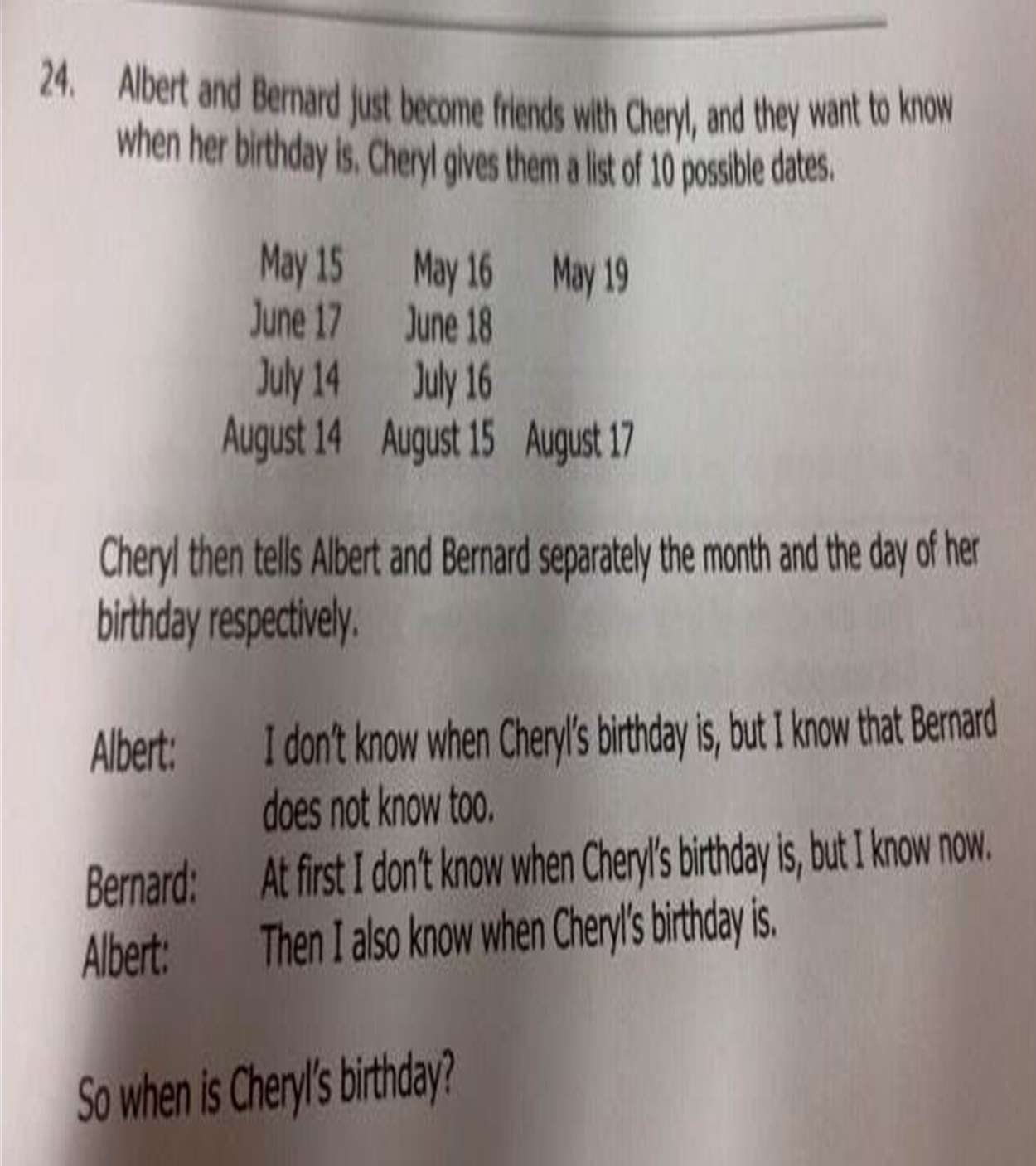 Today Viral News Home: When Is Cheryl's Birthday? Viral Math Problem Stumps The