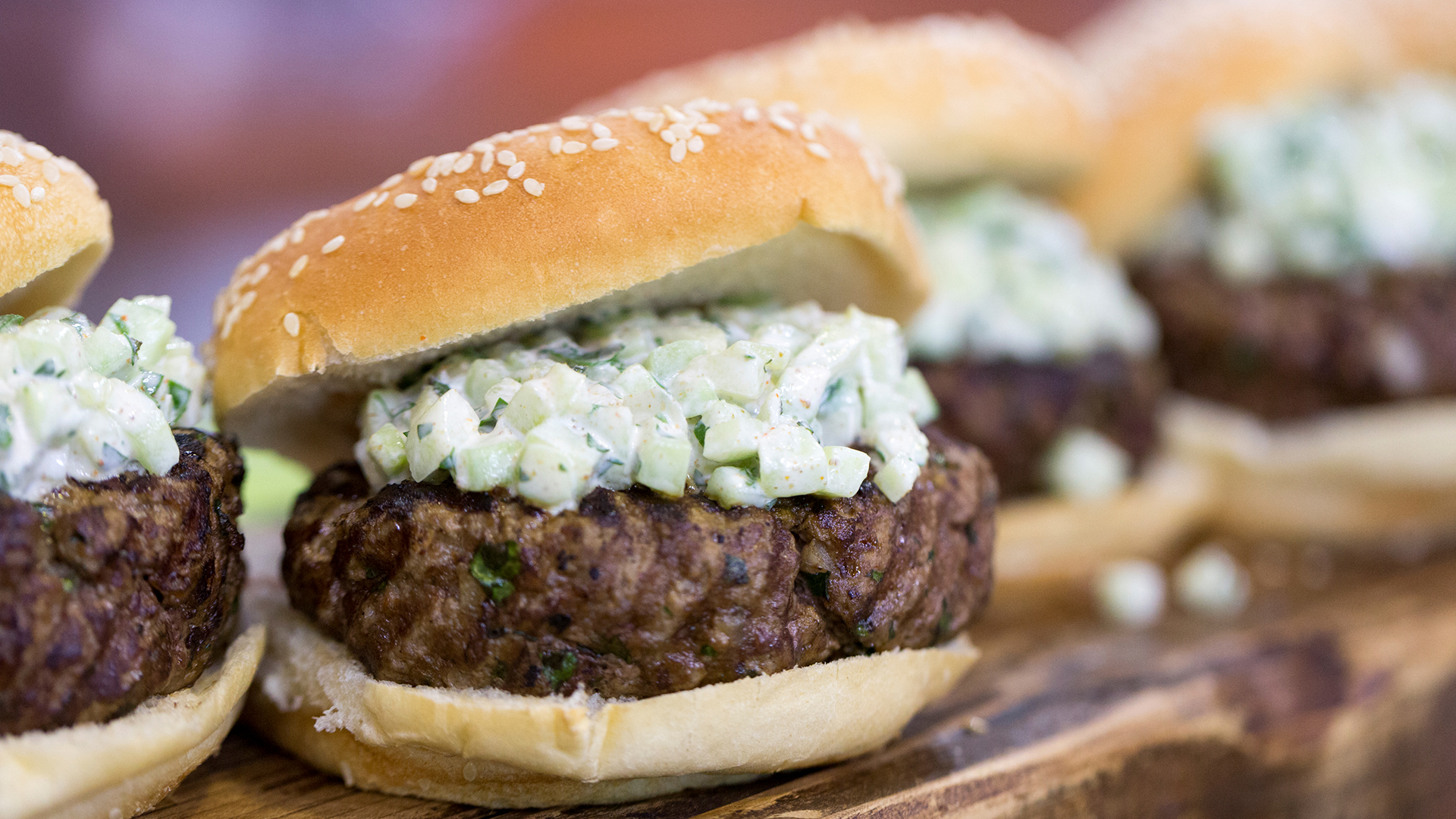 Spiced Mini Burgers with Cucumber Relish images