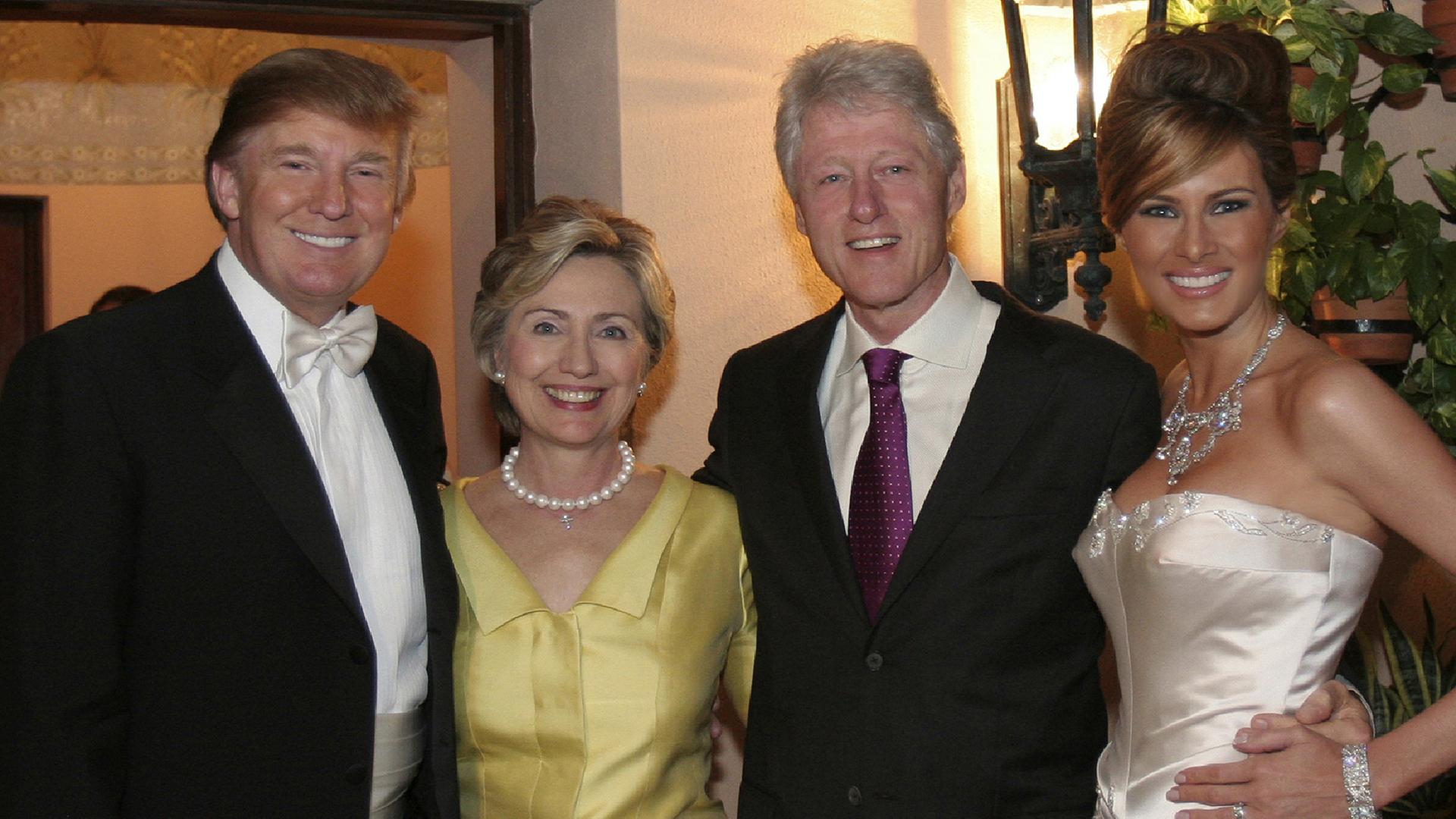 celebrity hillary clinton bill donald trumps wedding photo