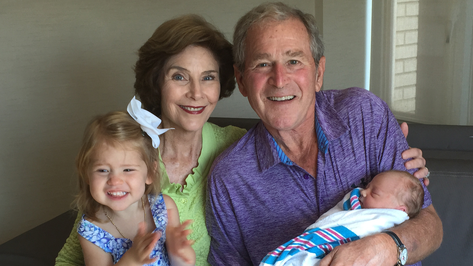 George W Bush Shares Adorable Photo Of Meeting His Granddaughter Photo