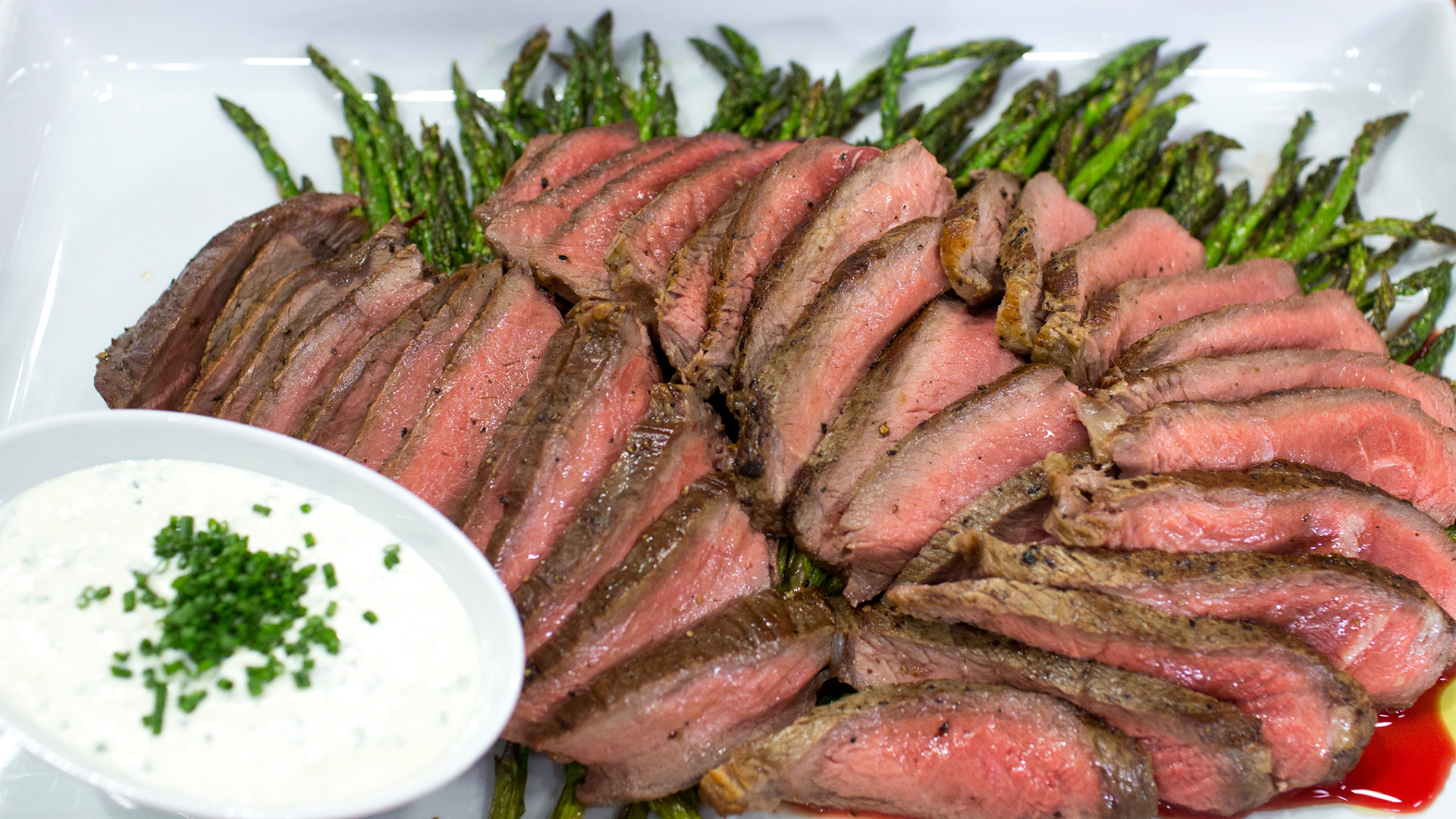 Broiled Steak and Asparagus with Feta Cream Sauce